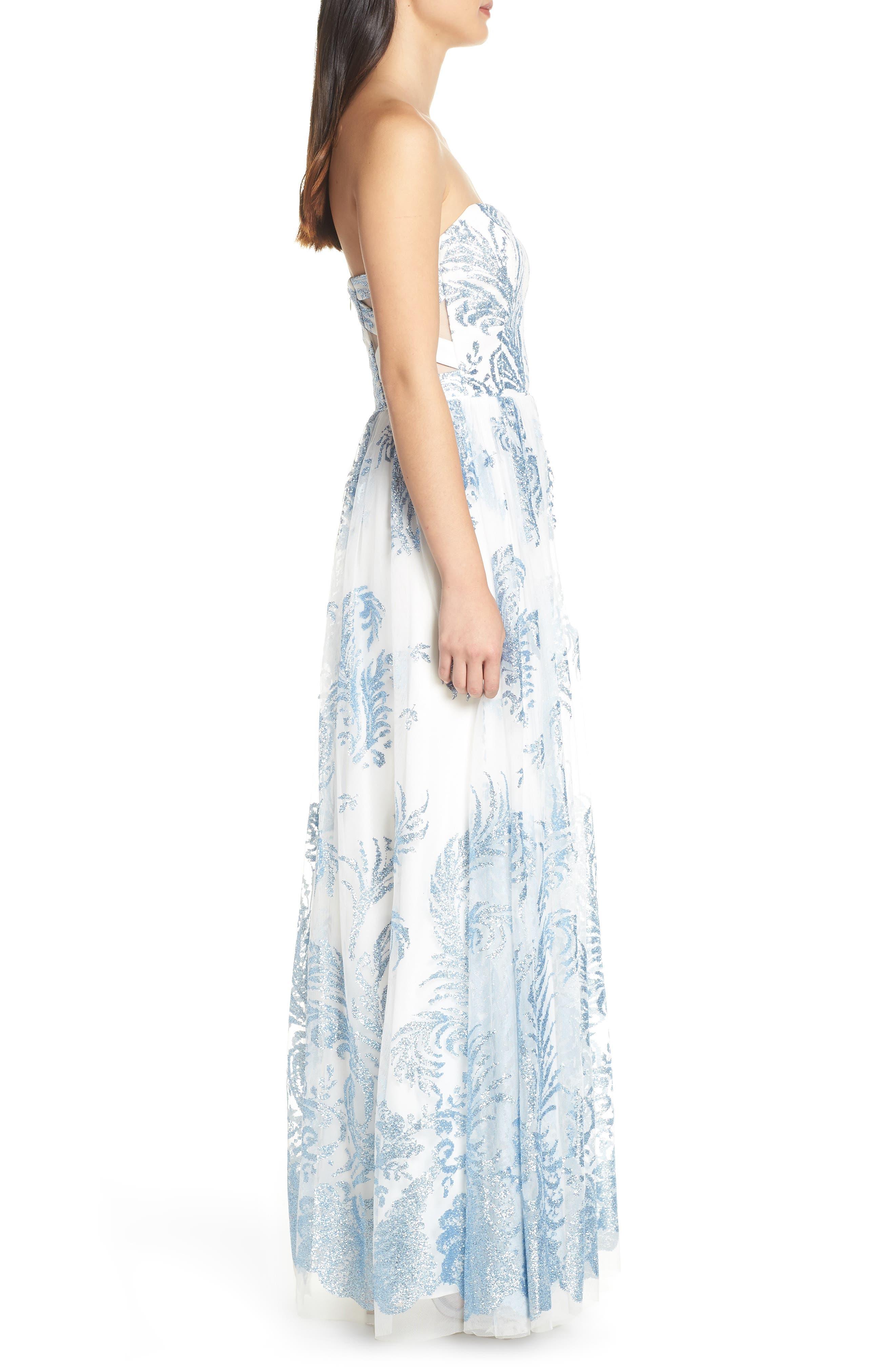 Strapless Glitter Mesh Evening Dress,                             Alternate thumbnail 3, color,                             IVORY/ BLUE