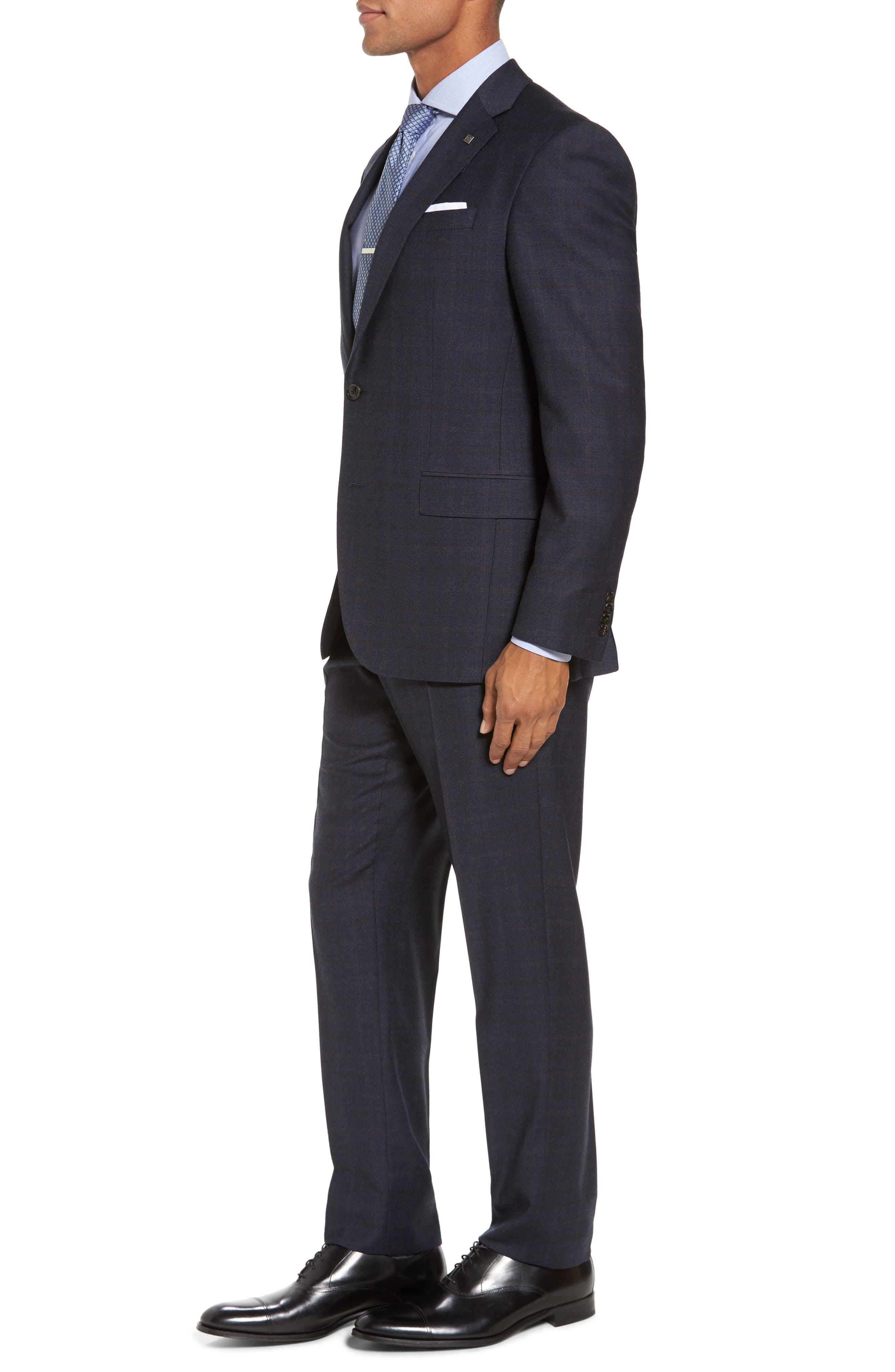 Jay Trim Fit Plaid Wool Suit,                             Alternate thumbnail 3, color,