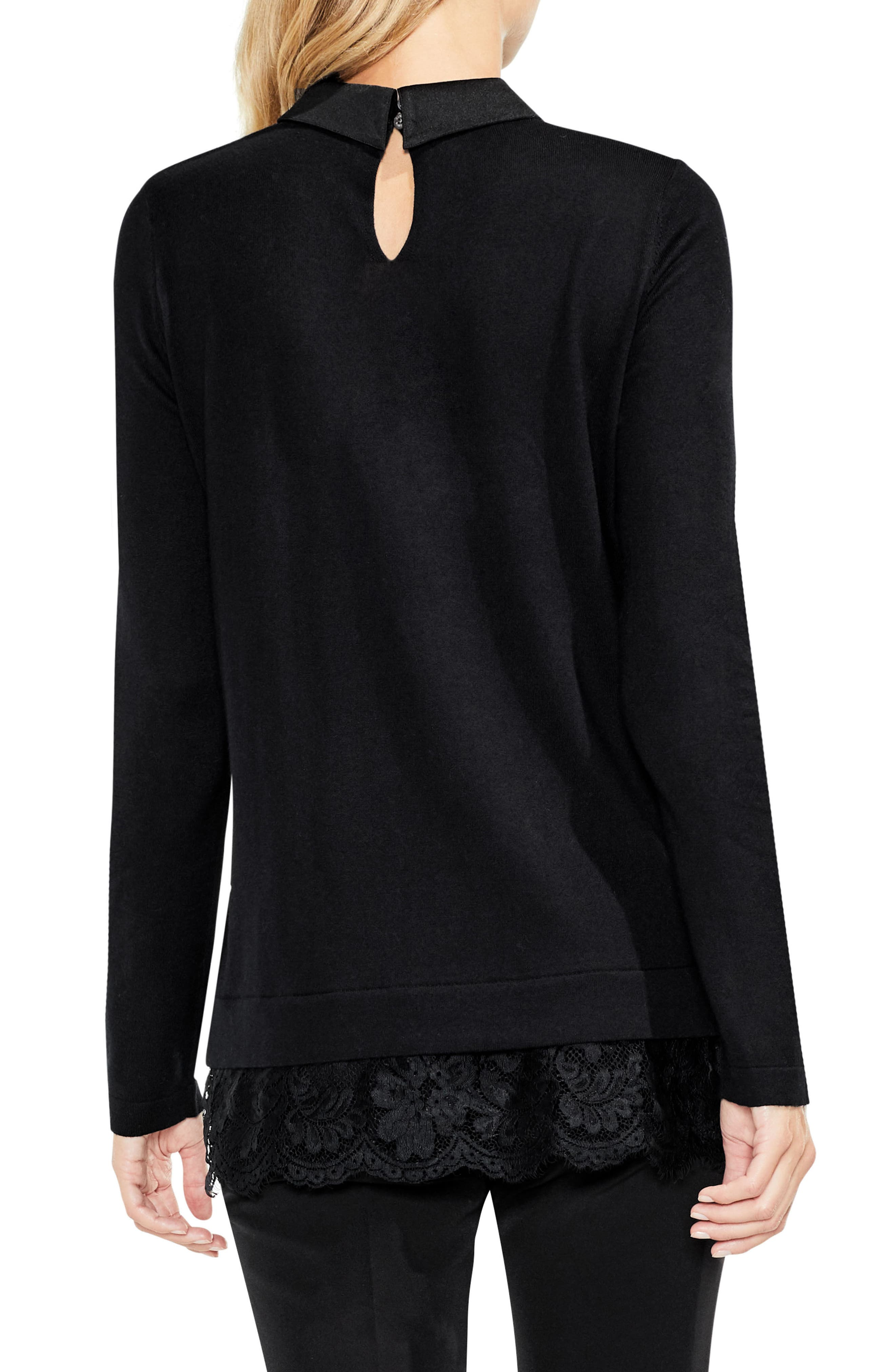 Lace Hem Collared Sweater,                             Alternate thumbnail 3, color,