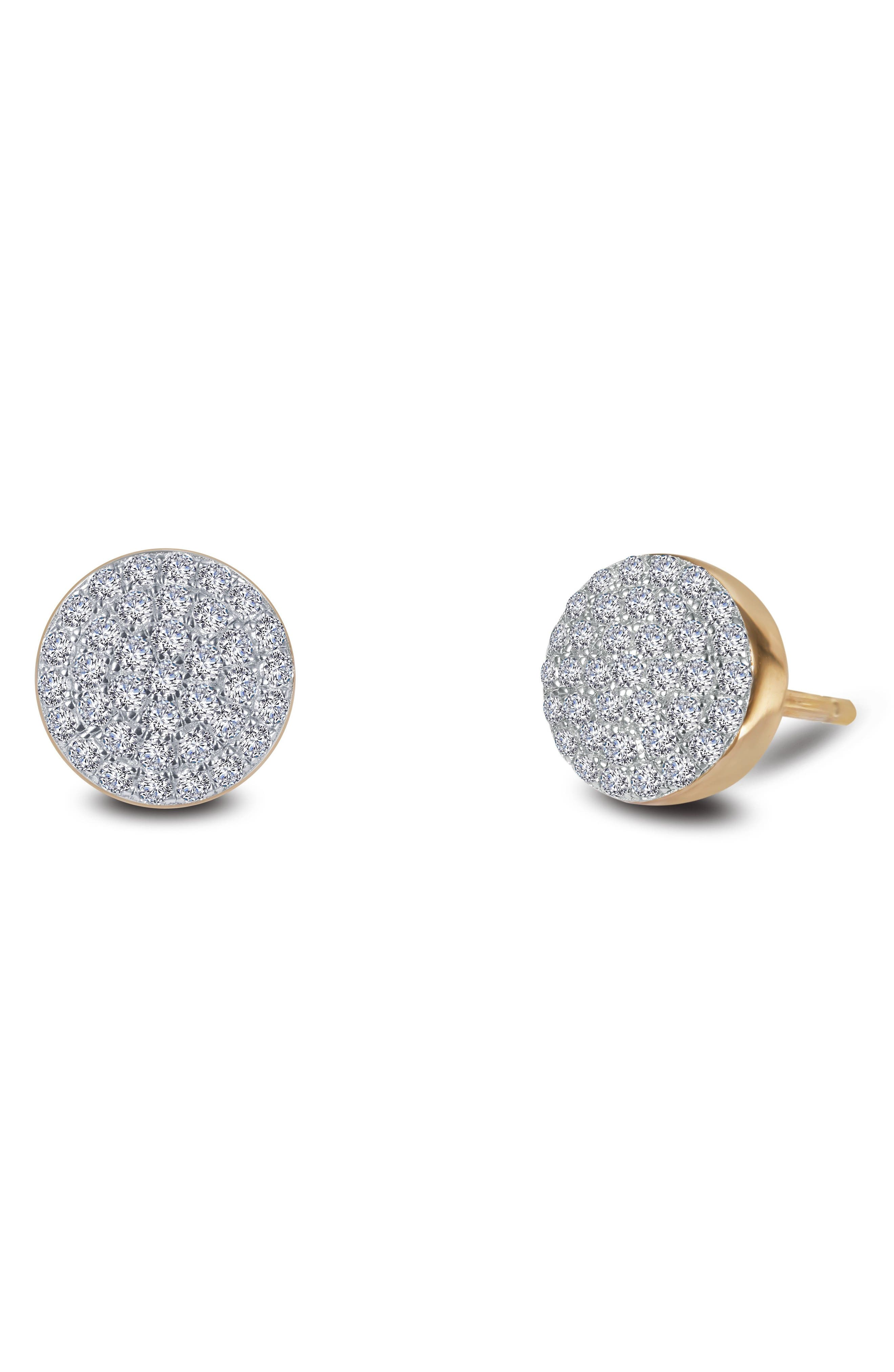 Two-Tone Pavé Button Stud Earrings,                         Main,                         color, SILVER/ GOLD/ CLEAR