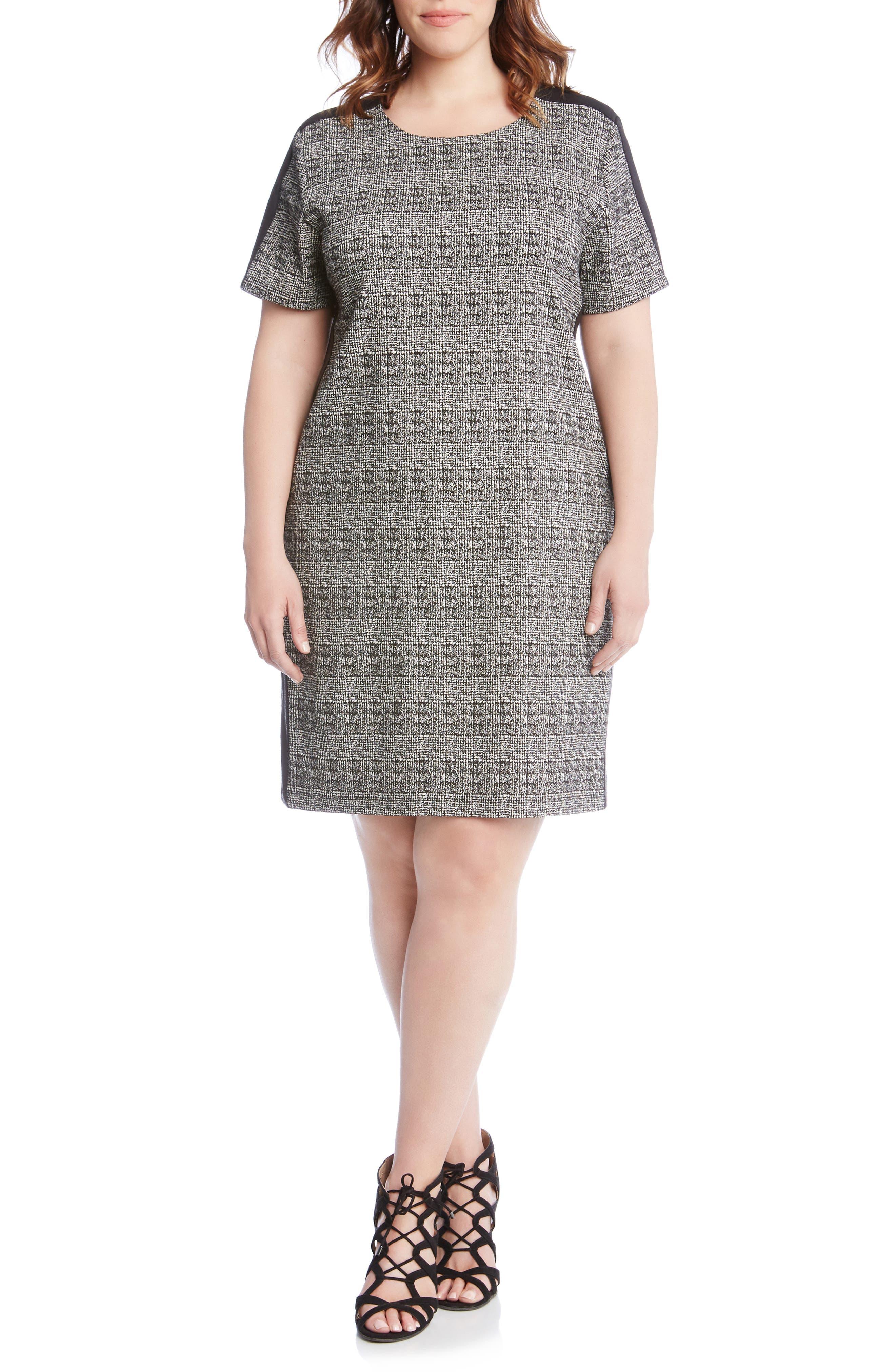 Plus Size Karen Kane Euro Print Stretch Knit Dress, Black