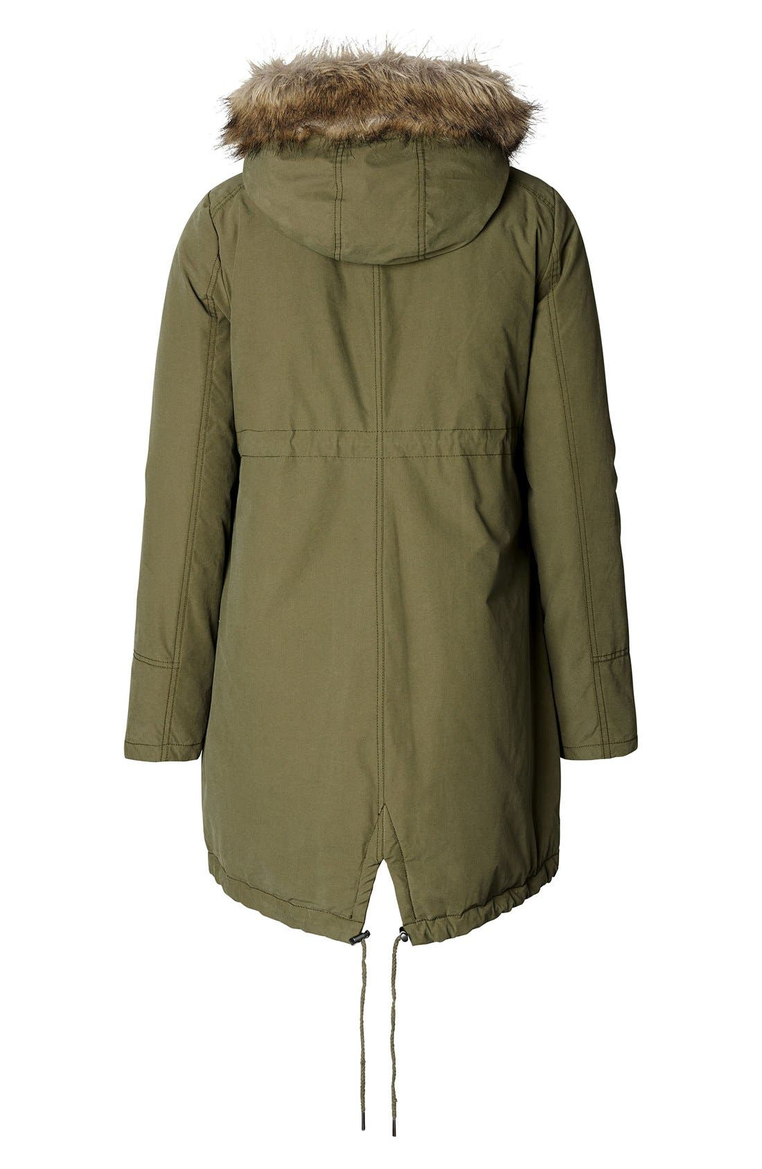 Malin Maternity Jacket with Faux Fur Trim,                             Alternate thumbnail 3, color,                             ARMY