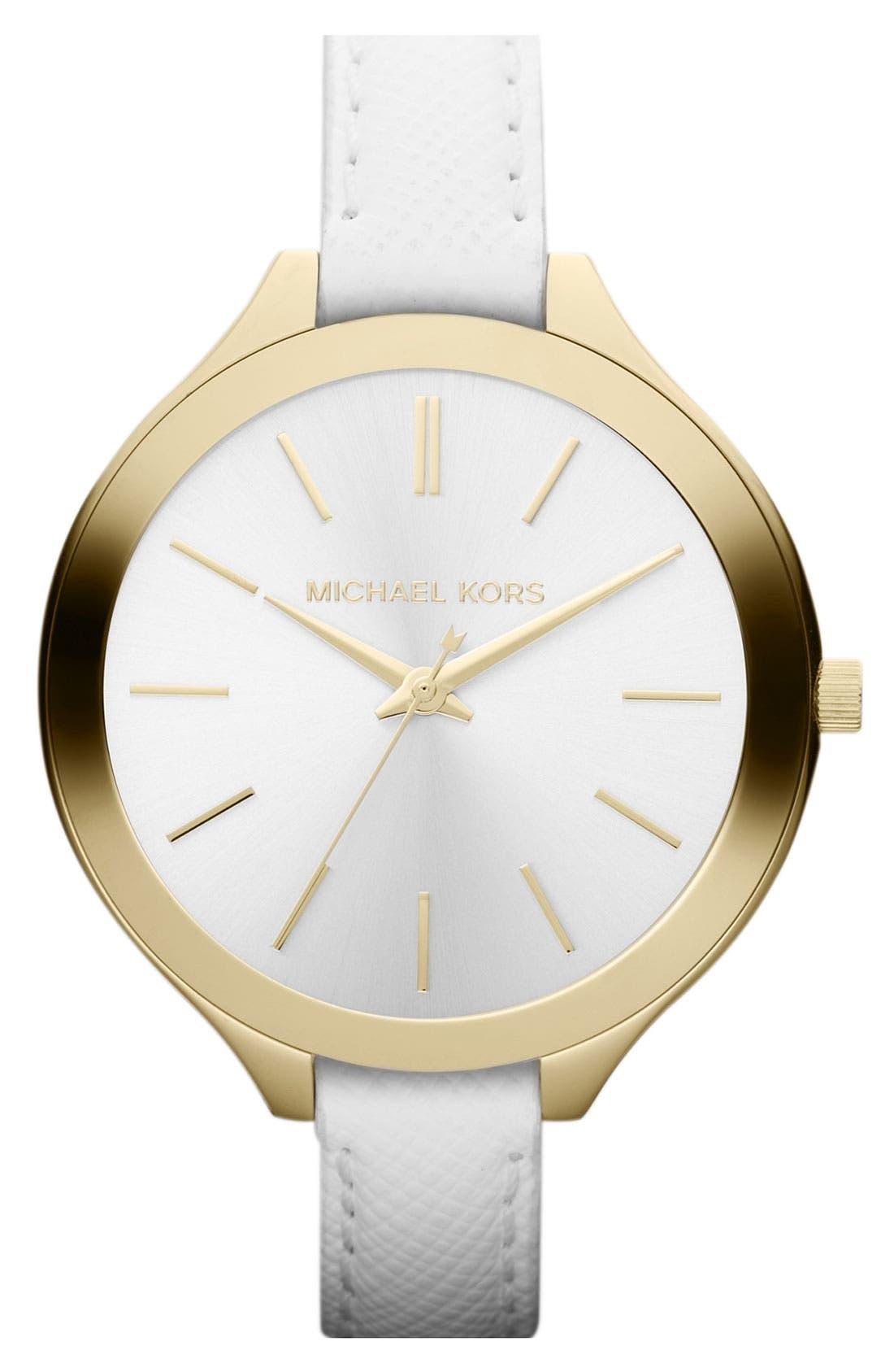 Michael Kors 'Slim Runway' Leather Strap Watch, 42mm,                             Main thumbnail 1, color,                             100