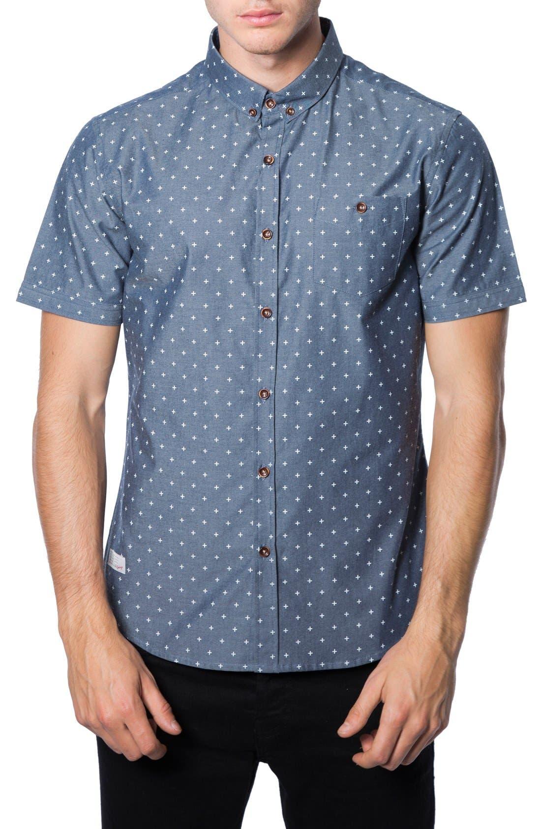 'Habits' Trim Fit Short Sleeve Chambray Shirt,                             Main thumbnail 1, color,                             410
