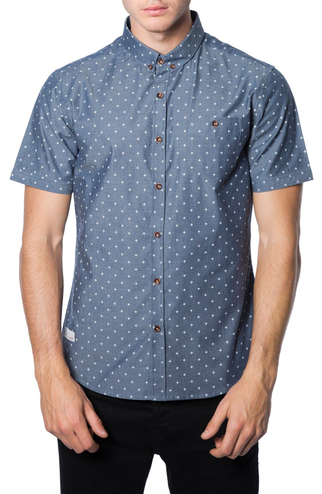 'Habits' Trim Fit Short Sleeve Chambray Shirt, Main, color, 410