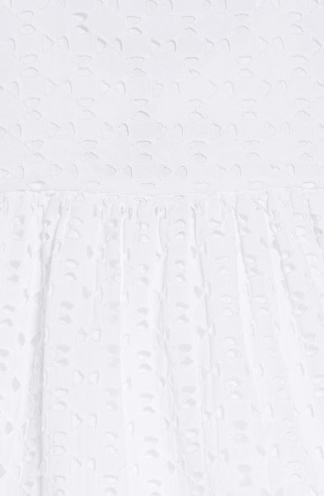 Eliza Eyelet Dress,                             Alternate thumbnail 3, color,                             WHITE