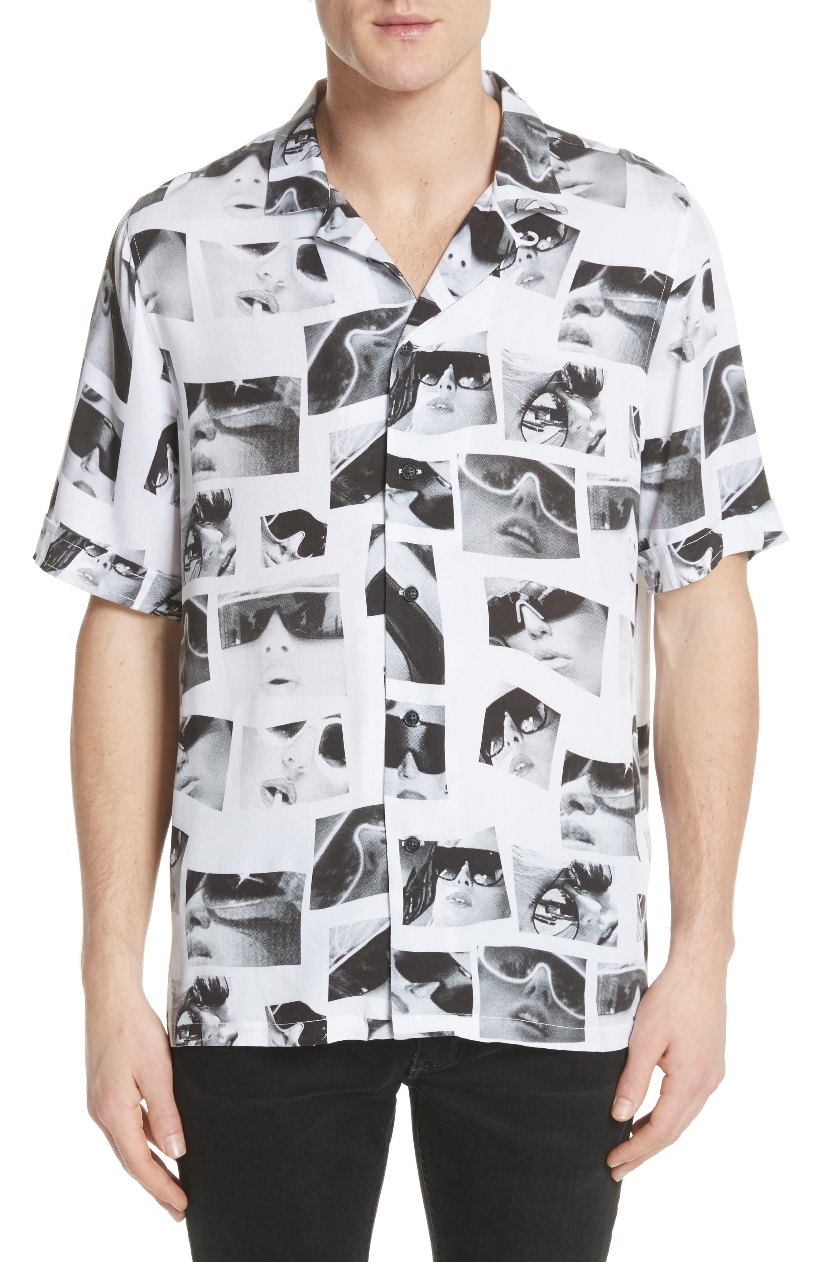 Sedation Eyes Print Camp Shirt,                             Main thumbnail 1, color,                             100