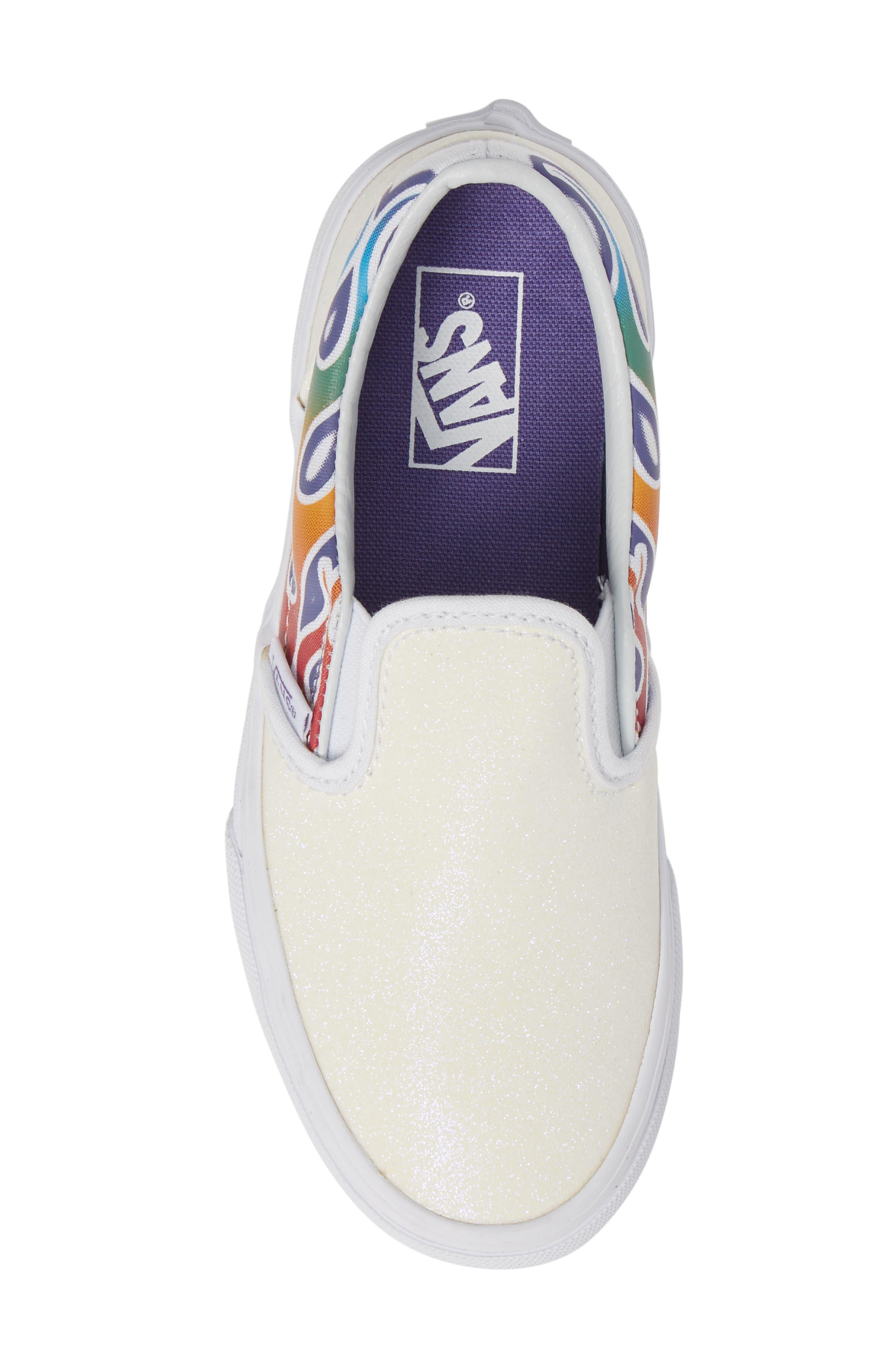 VANS,                             Classic Slip-On Glitter Sneaker,                             Alternate thumbnail 5, color,                             110