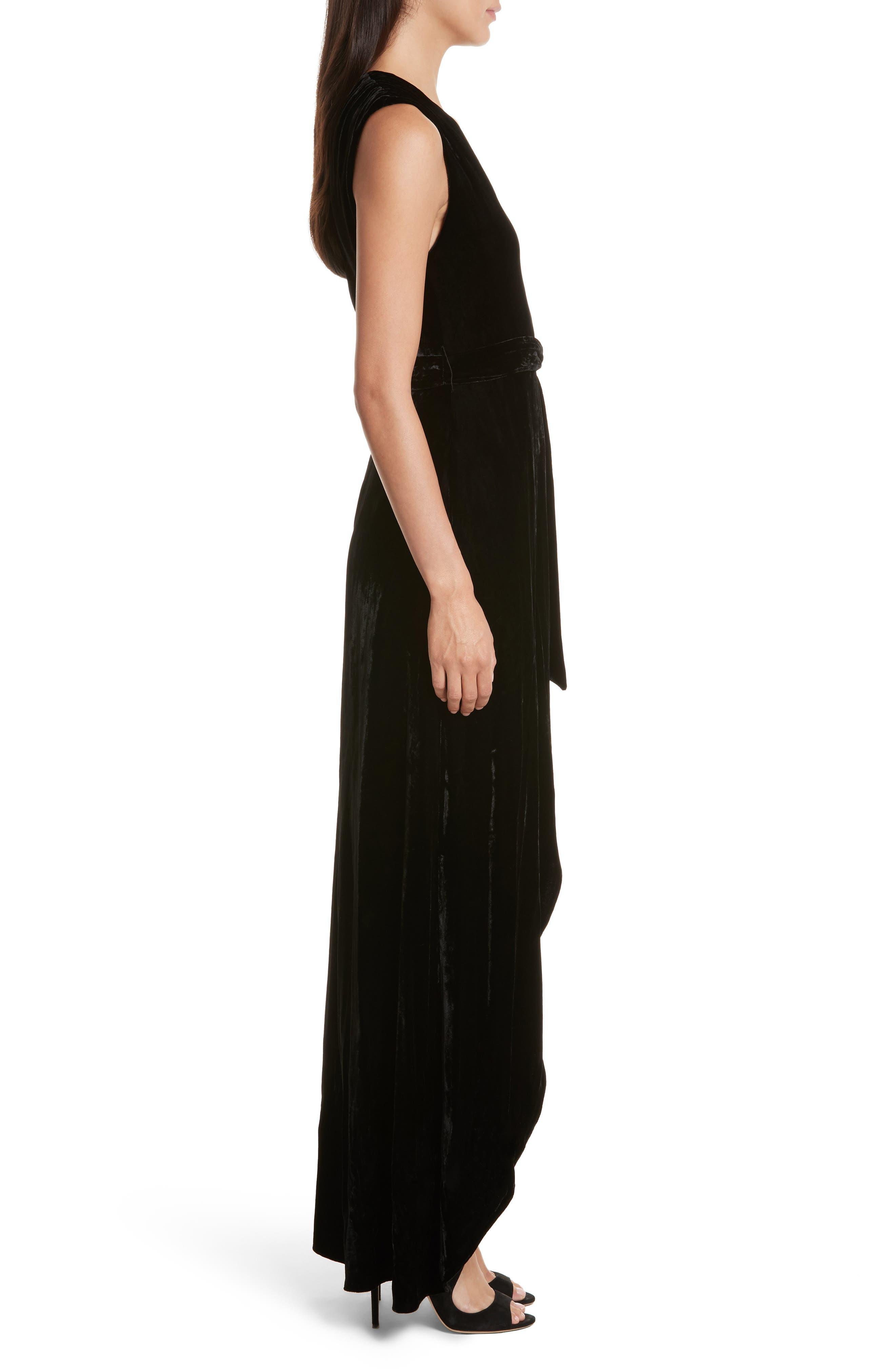 Simmons Velvet Wrap Maxi Dress,                             Alternate thumbnail 3, color,                             001