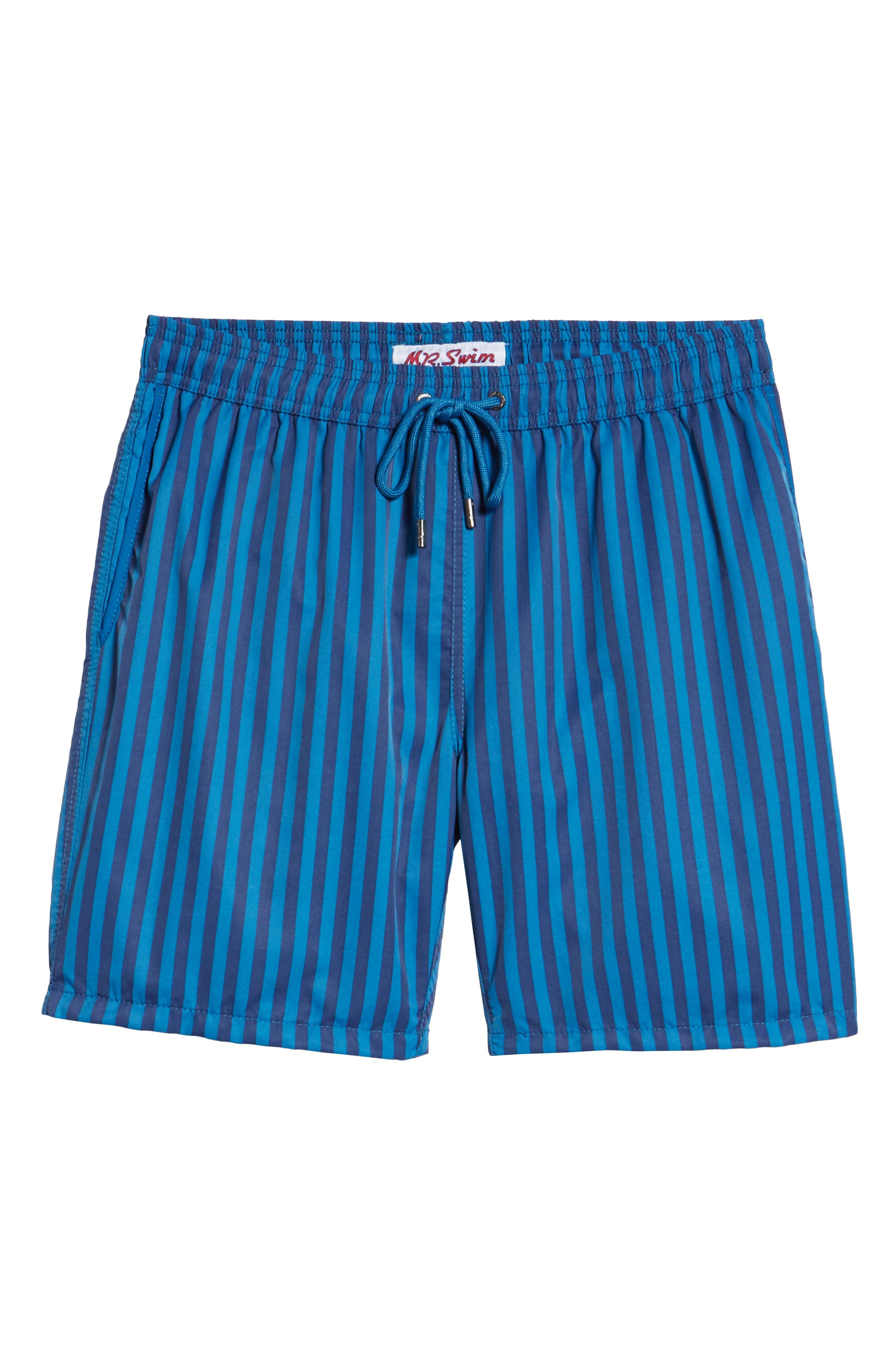 Mr. Swim Cabana Stripe Swim Trunks,                             Alternate thumbnail 6, color,                             NAVY/ ROYAL