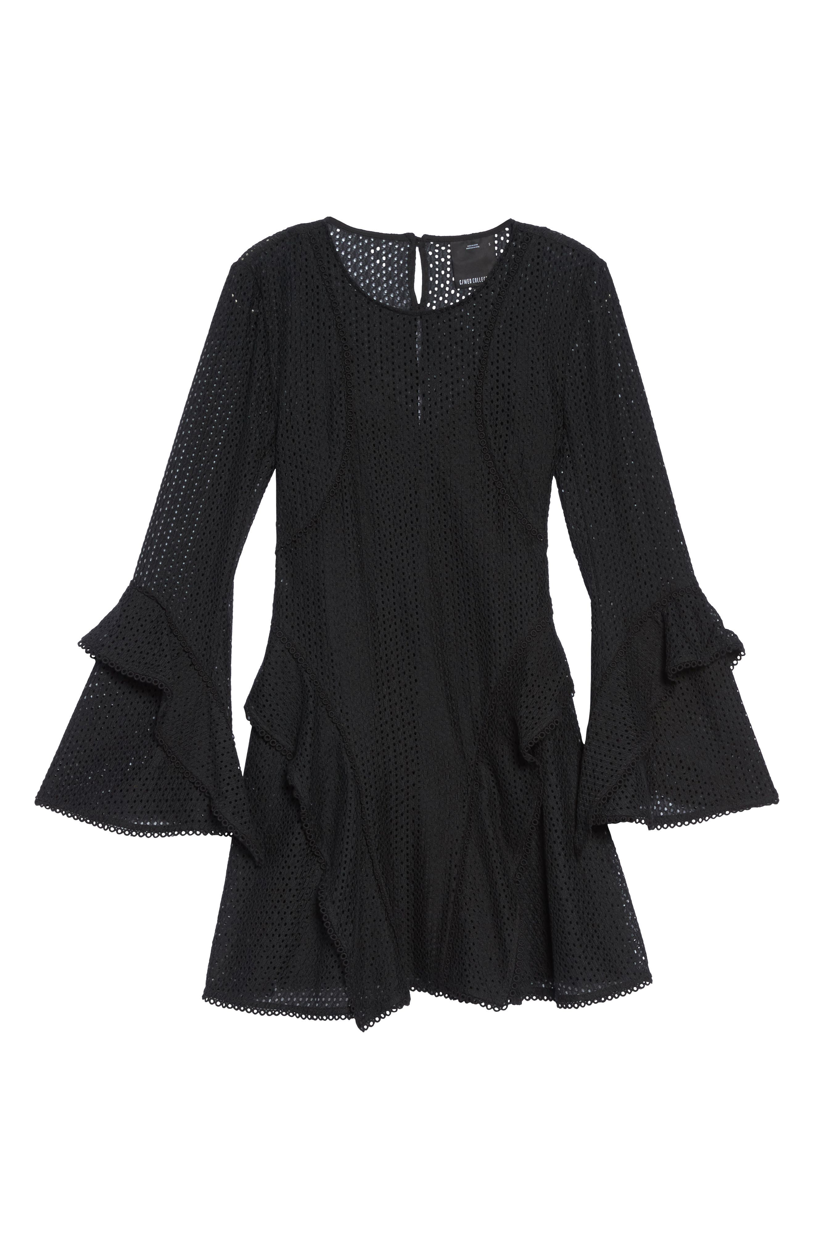 Aspire Lace Bell Sleeve Minidress,                             Alternate thumbnail 6, color,                             001