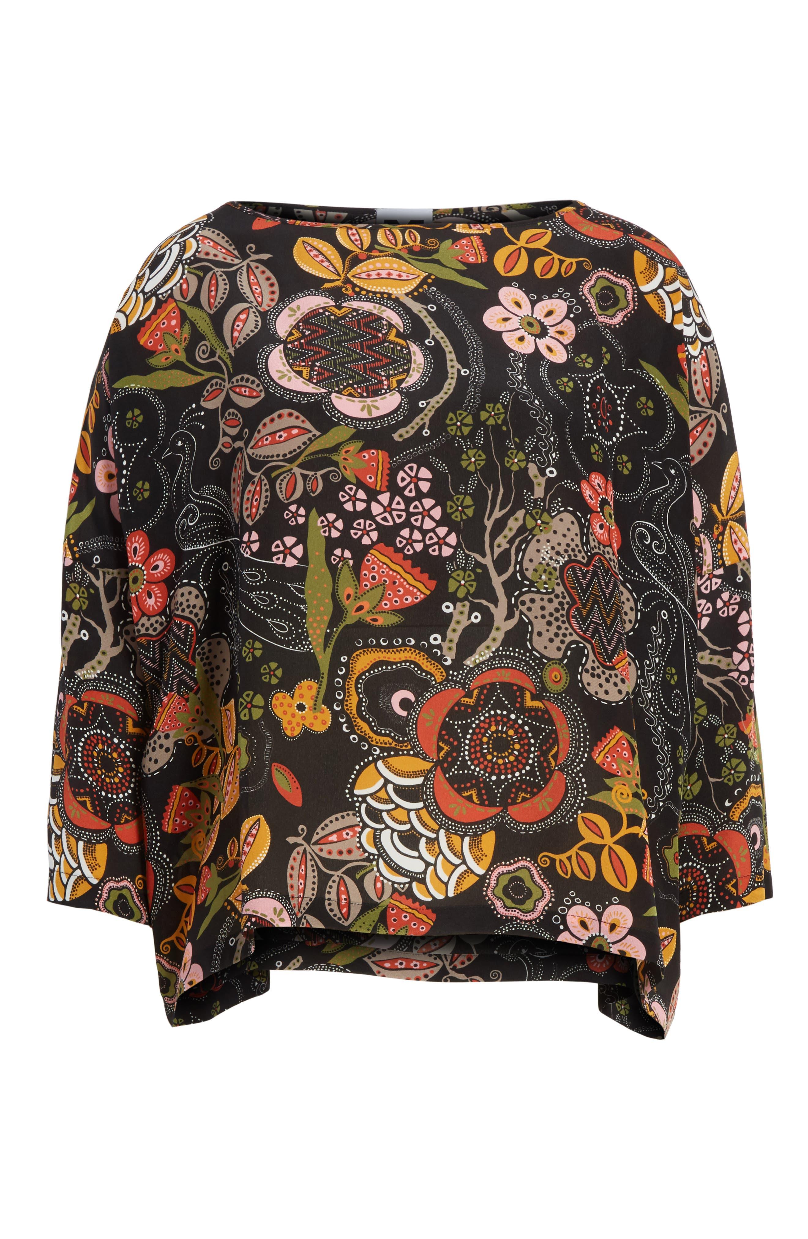 Zigzag Floral Silk Top,                             Alternate thumbnail 6, color,                             001