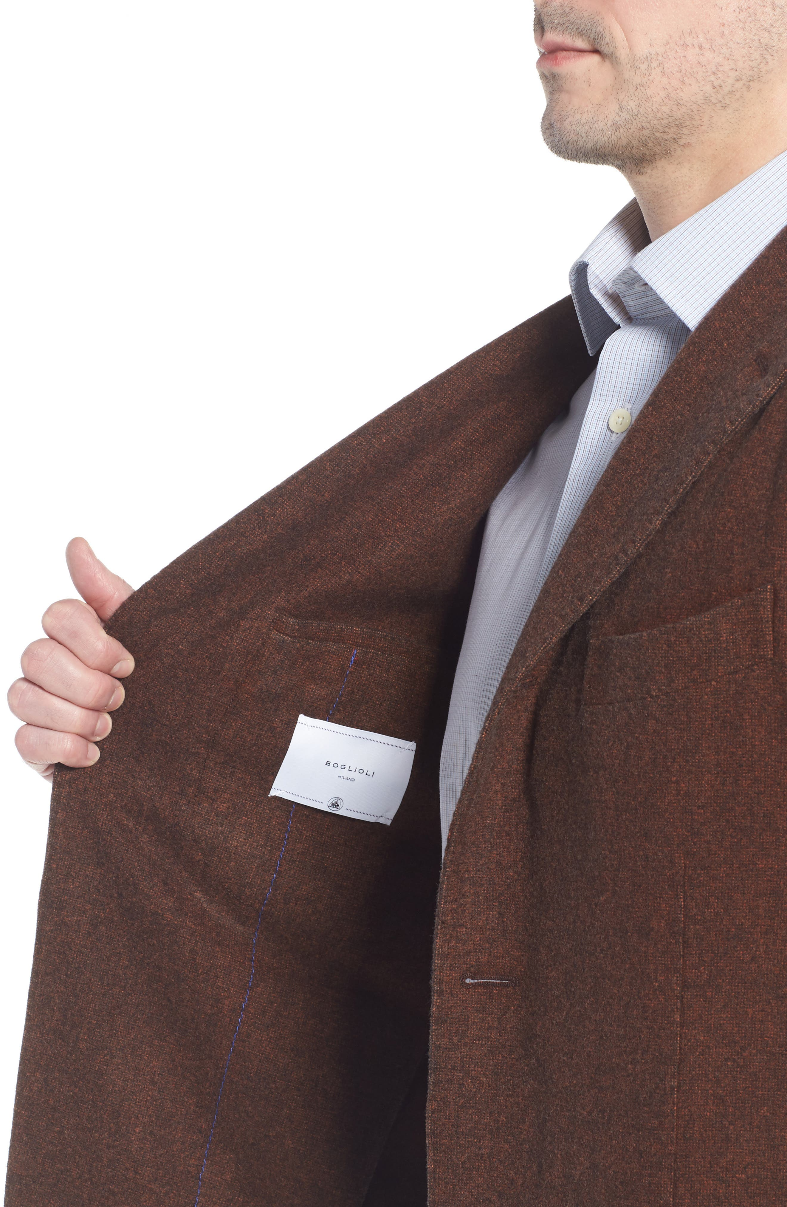 Trim Fit Wool Blazer,                             Alternate thumbnail 4, color,