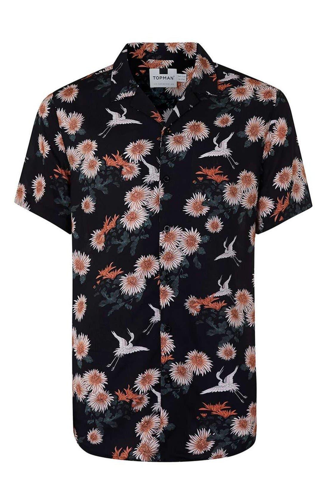 Floral Print Revere Collar Short Sleeve Shirt,                             Alternate thumbnail 3, color,                             001