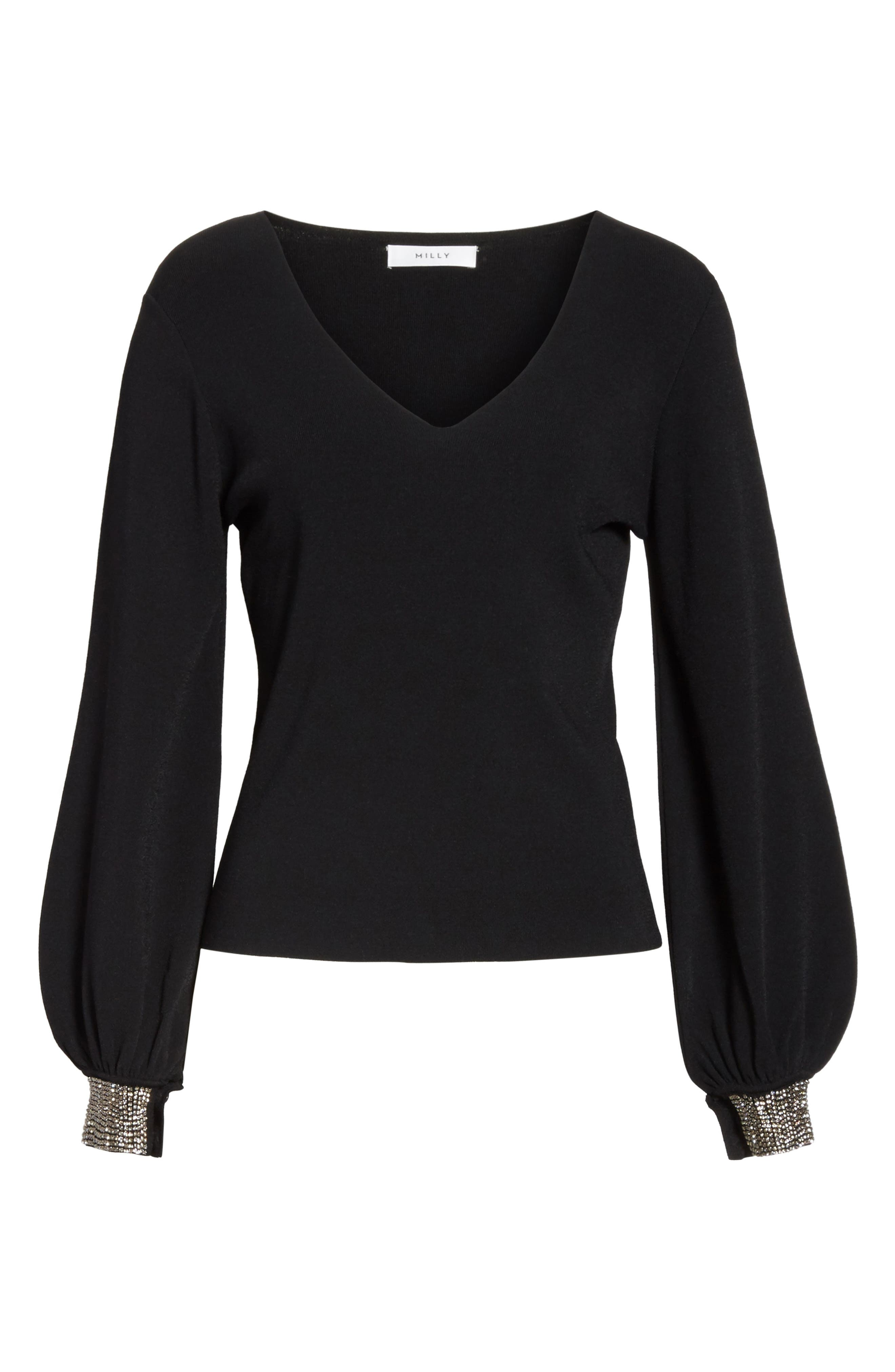 Gem Cuff V-Neck Sweater,                             Alternate thumbnail 6, color,