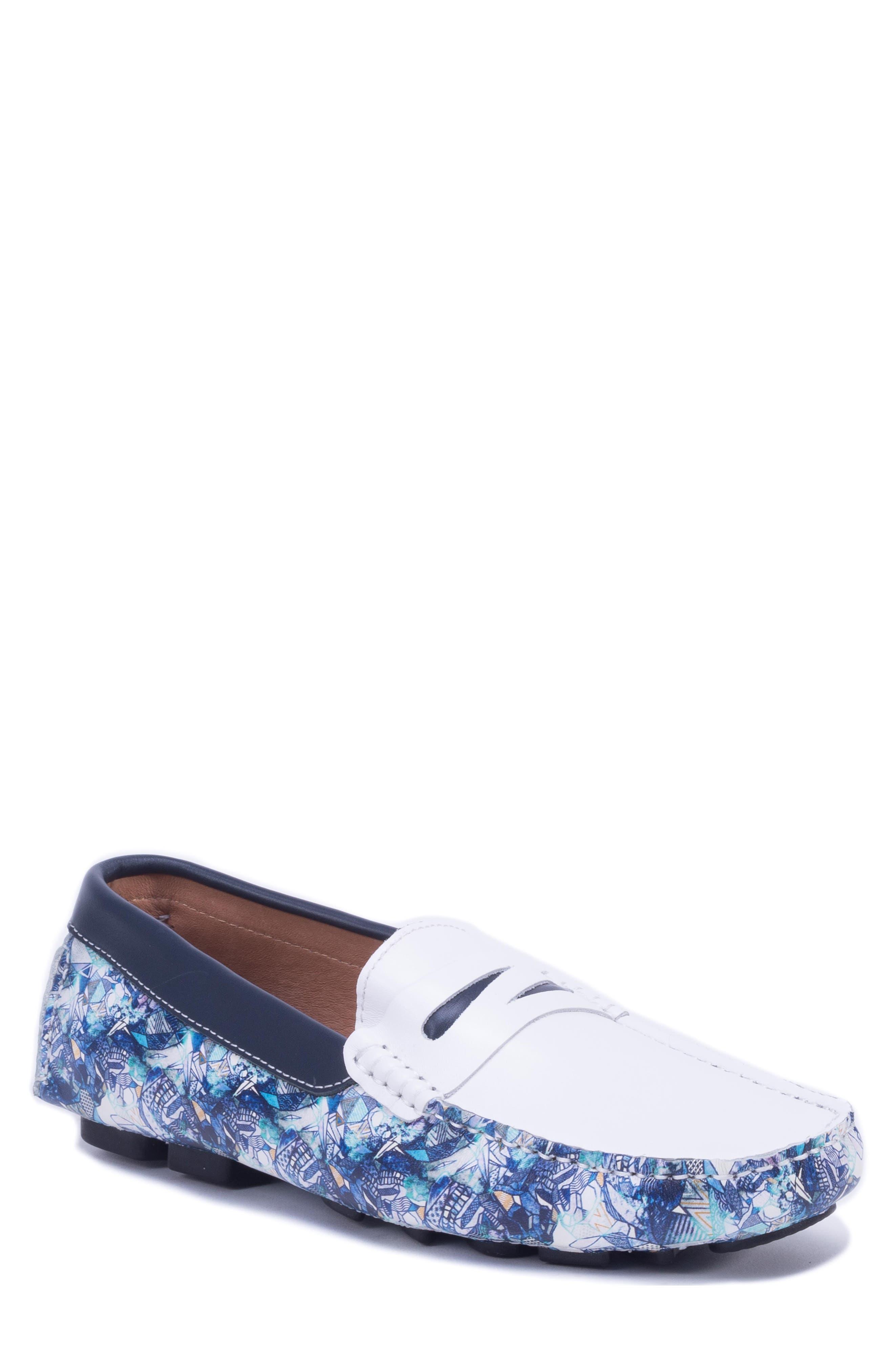 Doggerland Driving Shoe,                             Main thumbnail 1, color,                             WHITE LEATHER