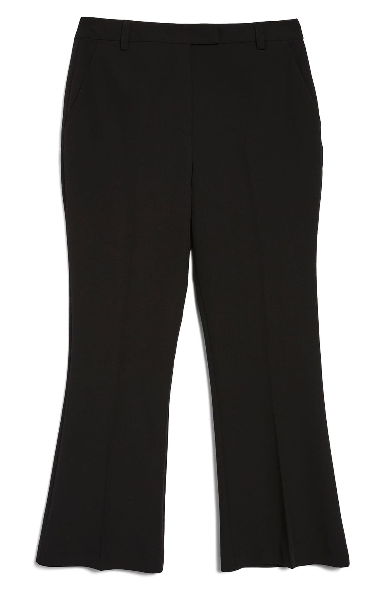 Slim Kick Flare Trousers,                             Alternate thumbnail 6, color,                             BLACK