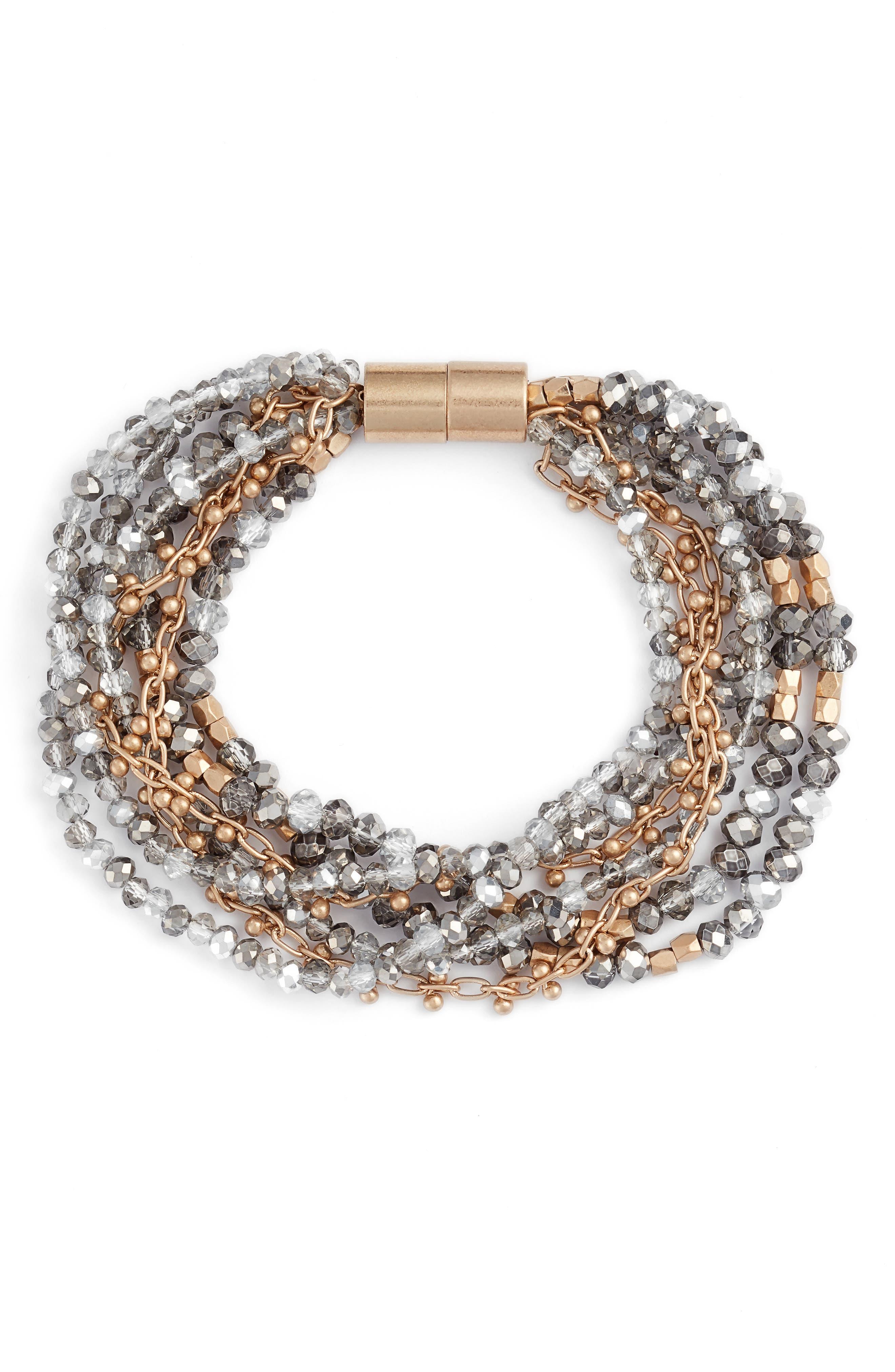 Layered Strand Bracelet,                             Main thumbnail 1, color,                             GREY- GOLD