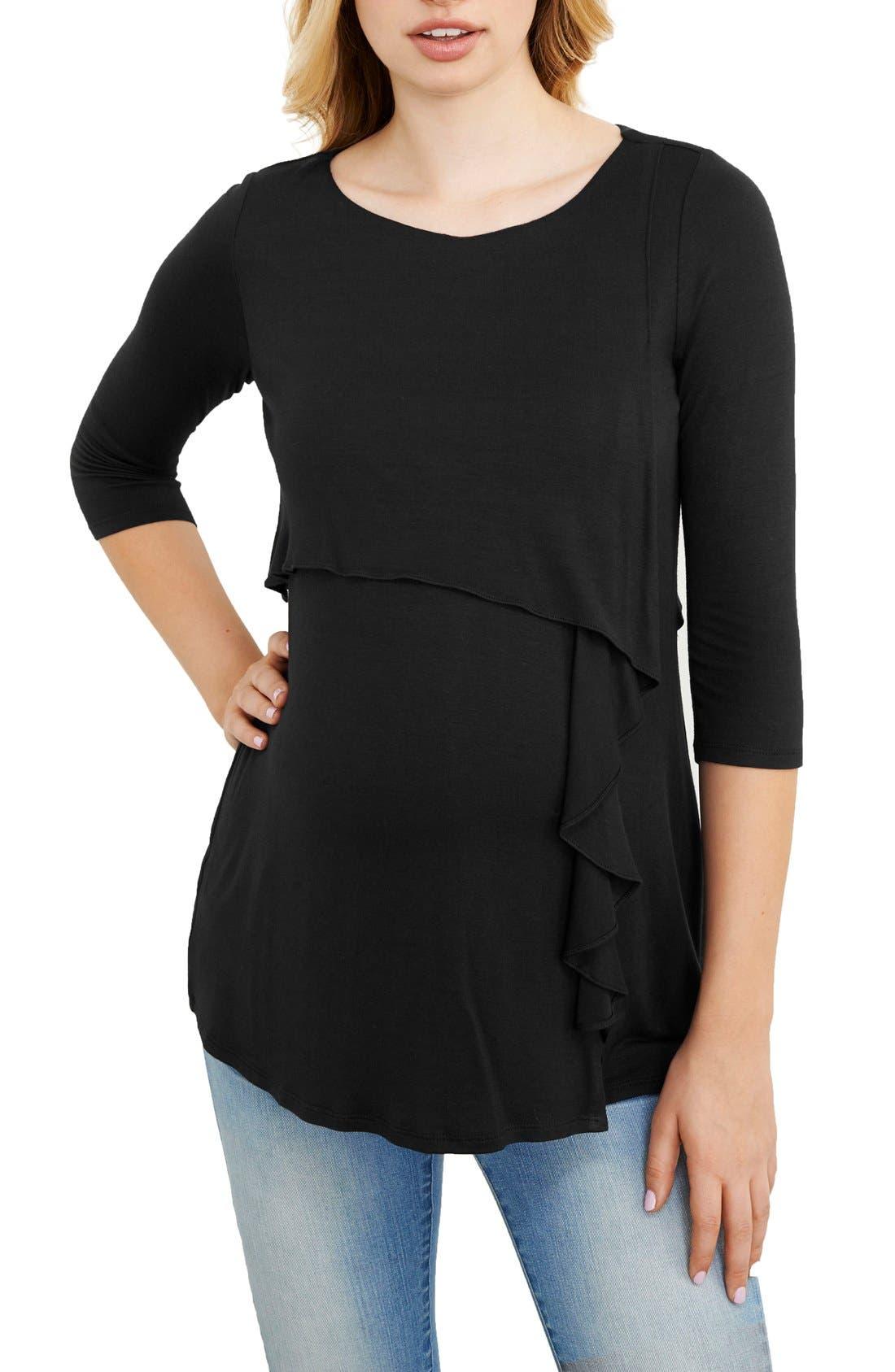 MATERNAL AMERICA Cascade Ruffle Front Maternity/Nursing Top, Main, color, BLACK