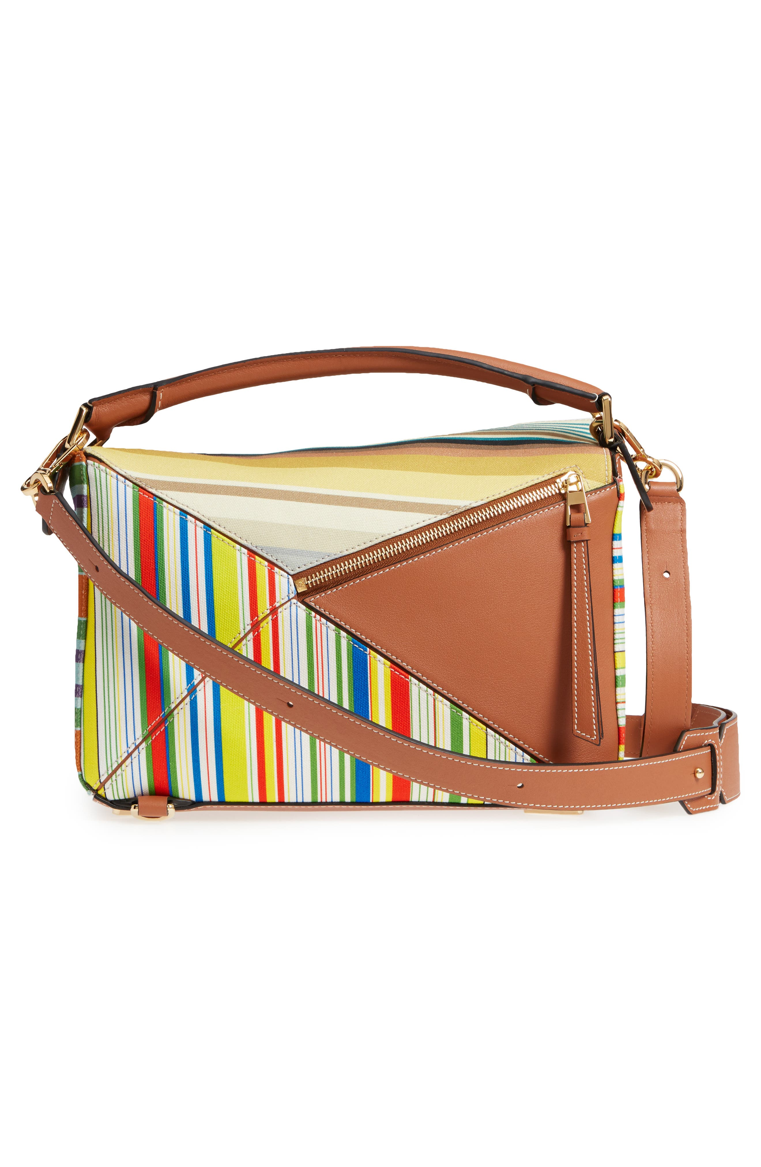 Medium Puzzle Stripe Canvas & Leather Shoulder Bag,                             Alternate thumbnail 4, color,