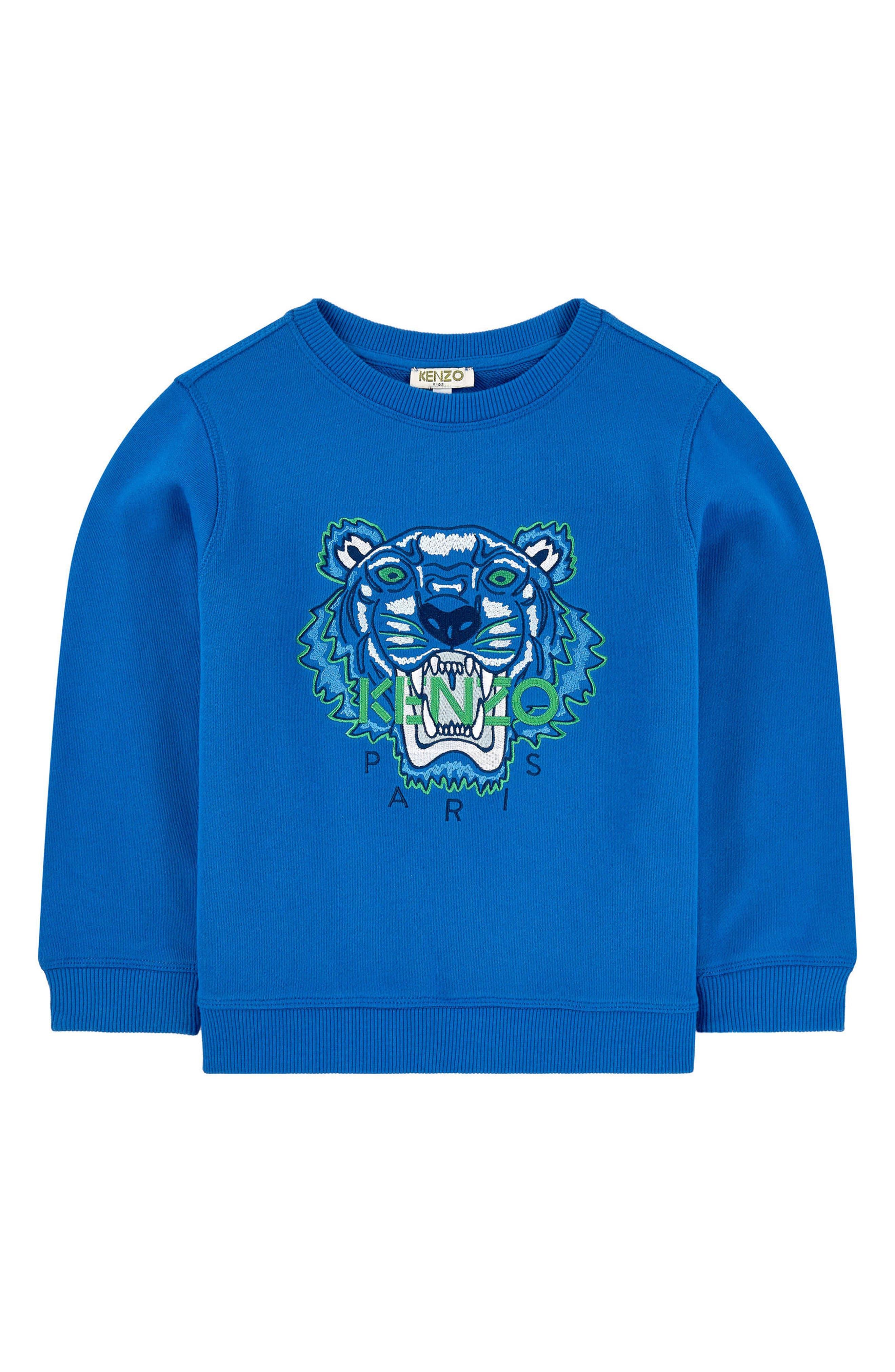 KENZO,                             Embroidered Tiger Logo Sweatshirt,                             Main thumbnail 1, color,                             ROYAL BLUE