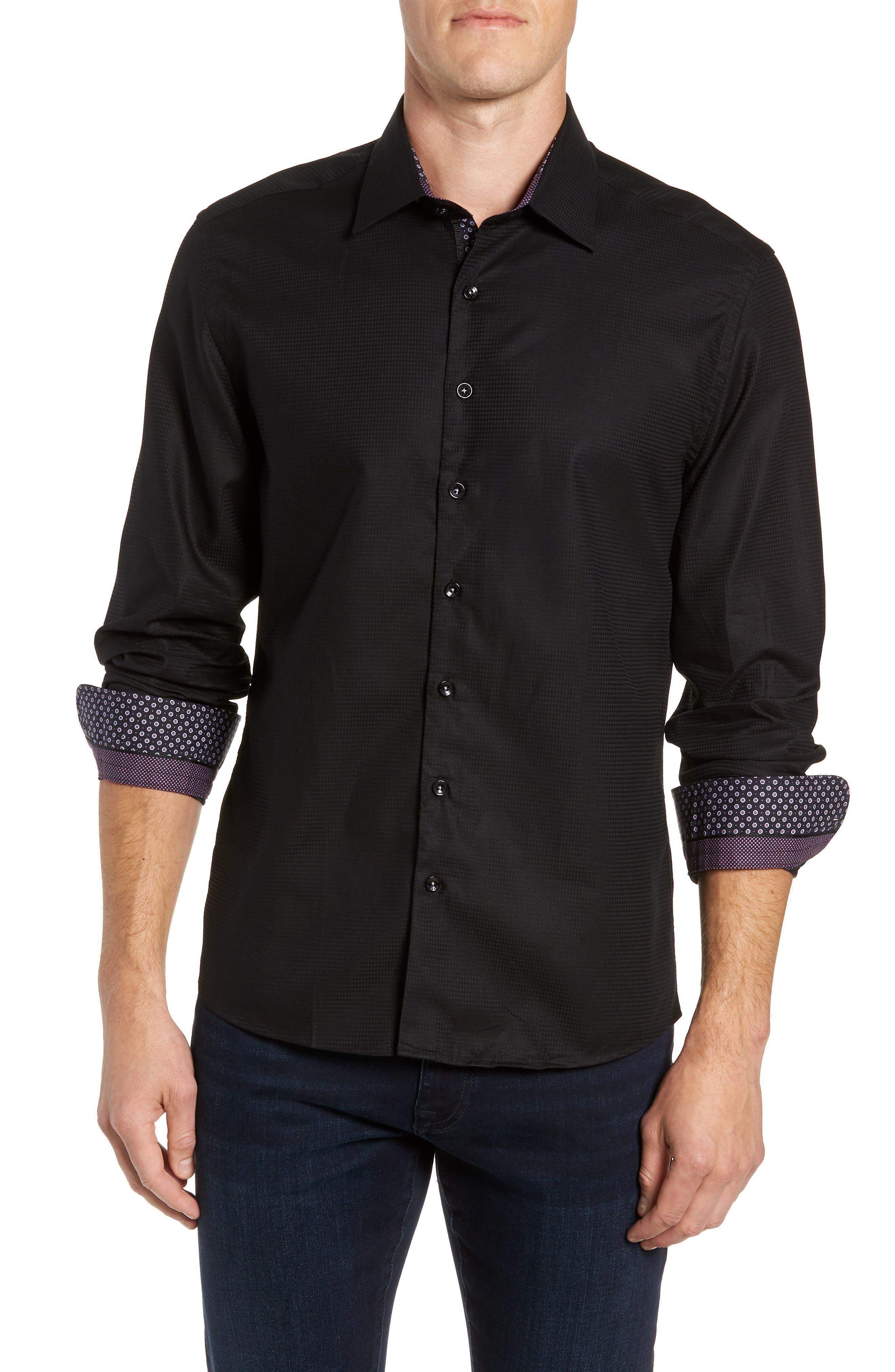 Contemporary Fit Waffle Texture Sport Shirt,                             Main thumbnail 1, color,                             BLACK