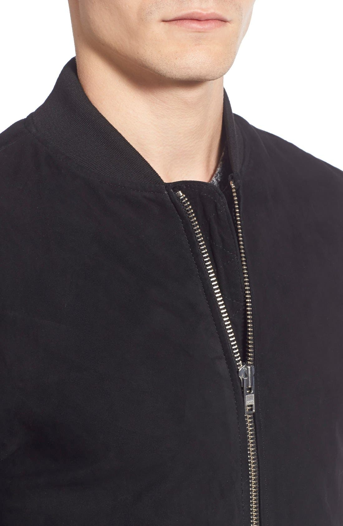 Suede Varsity Jacket with Leather Sleeves,                             Alternate thumbnail 5, color,                             001