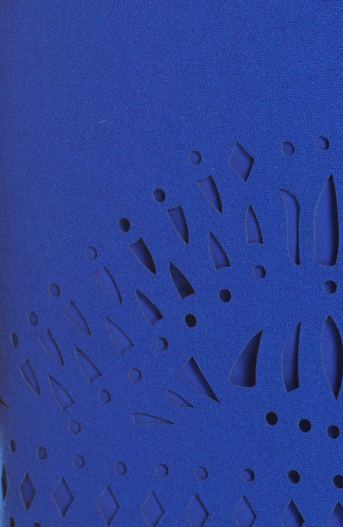 Laser Cut Crepe Sheath Dress,                             Alternate thumbnail 3, color,                             430
