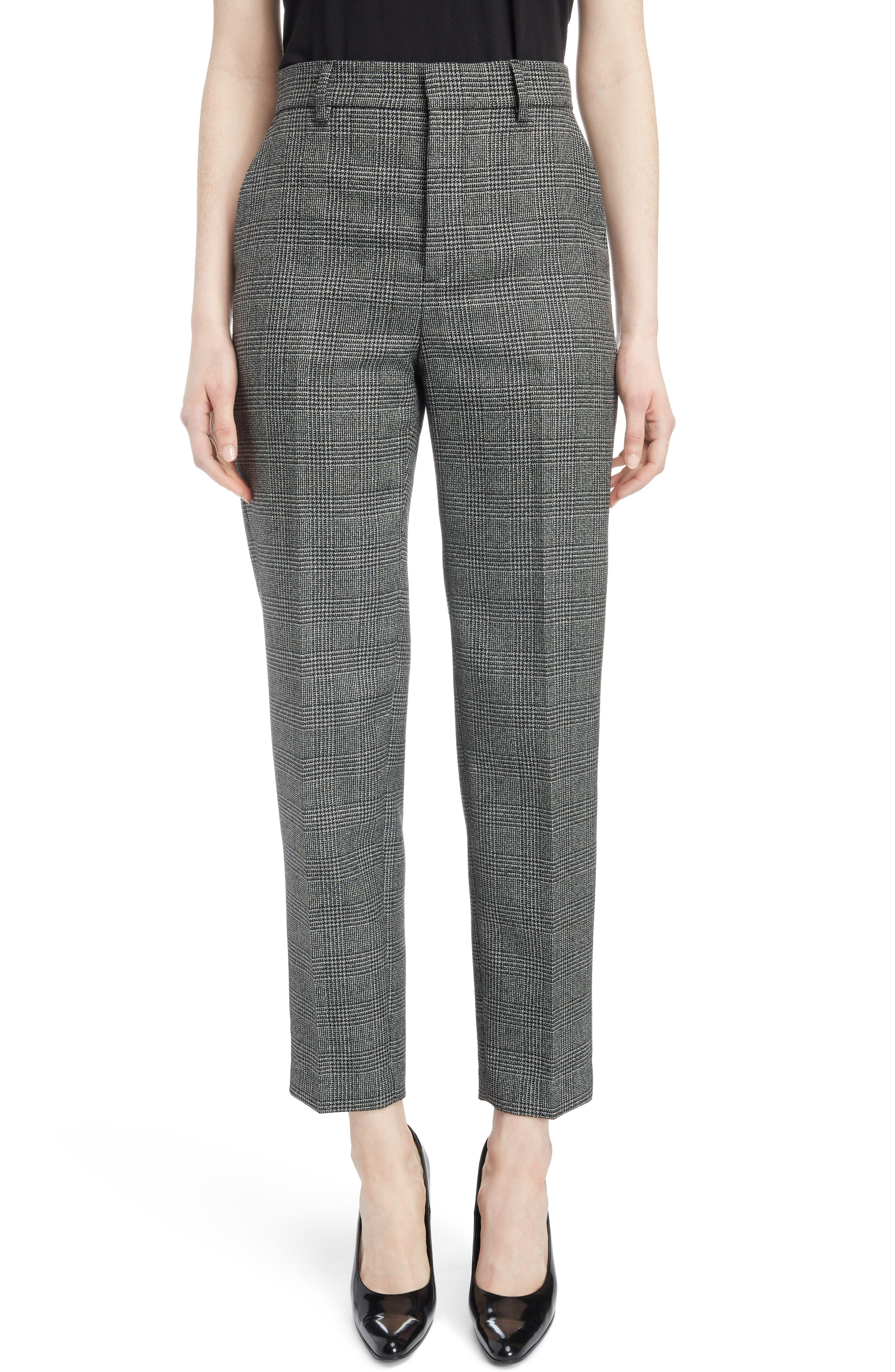 Prince of Wales Wool Carrot Trousers,                         Main,                         color, 1070-BLACK/ WHITE