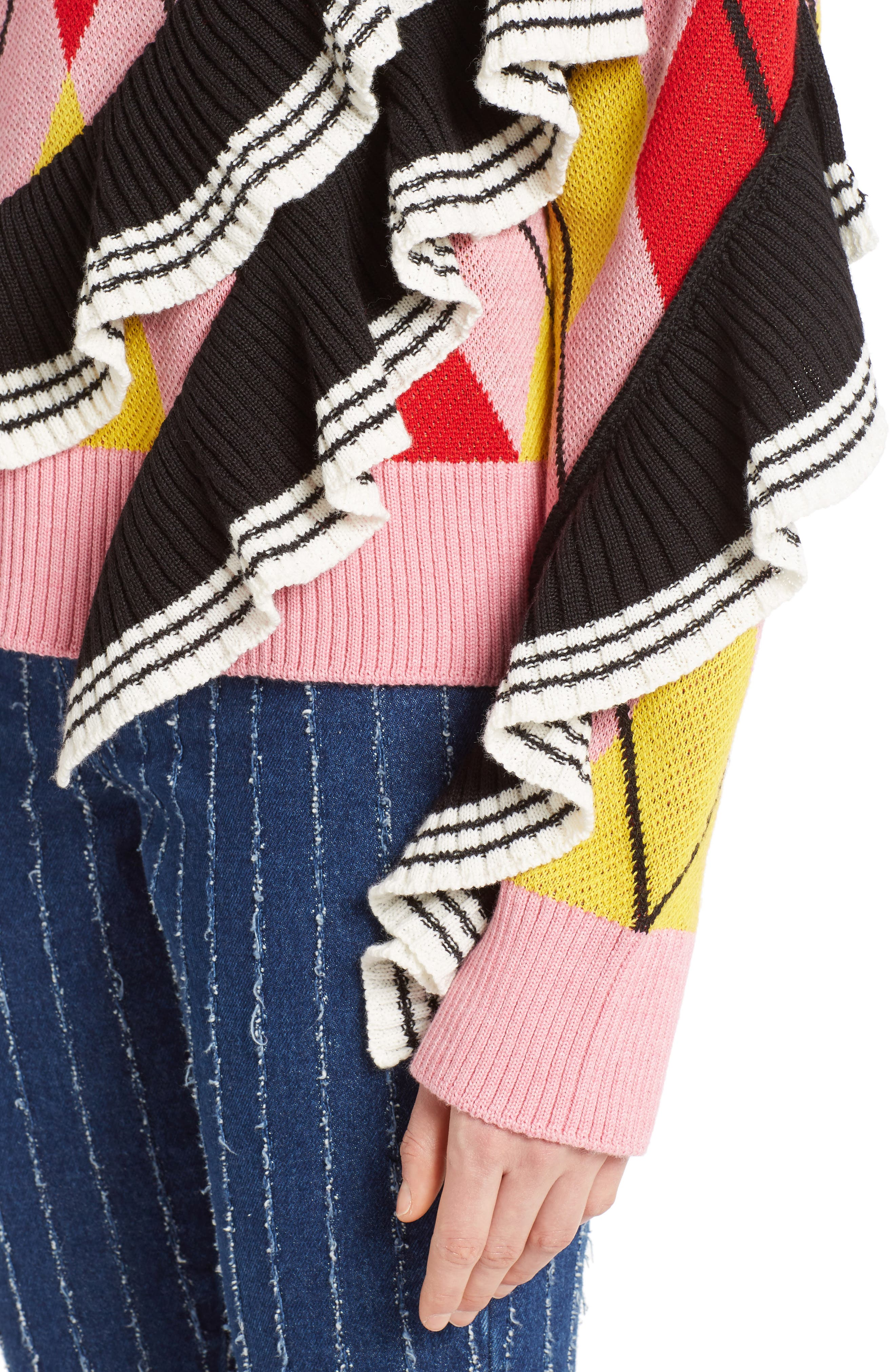 Argyle Ruffle Sweater,                             Alternate thumbnail 4, color,                             650