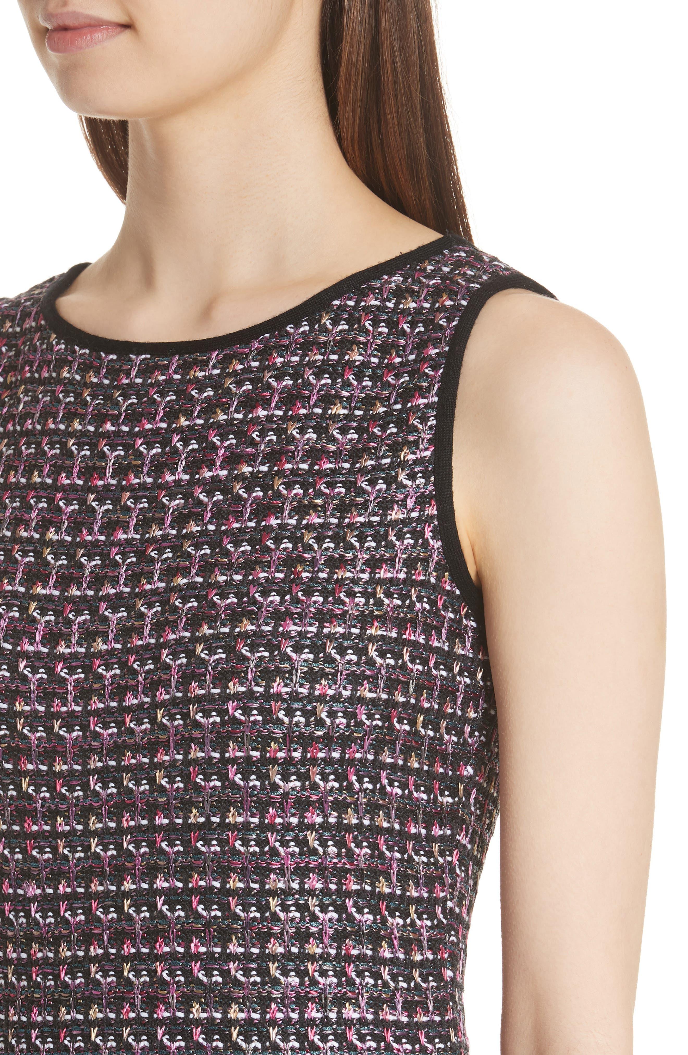 Painterly Sheen Tweed Knit Dress,                             Alternate thumbnail 4, color,                             GRANITE MULTI