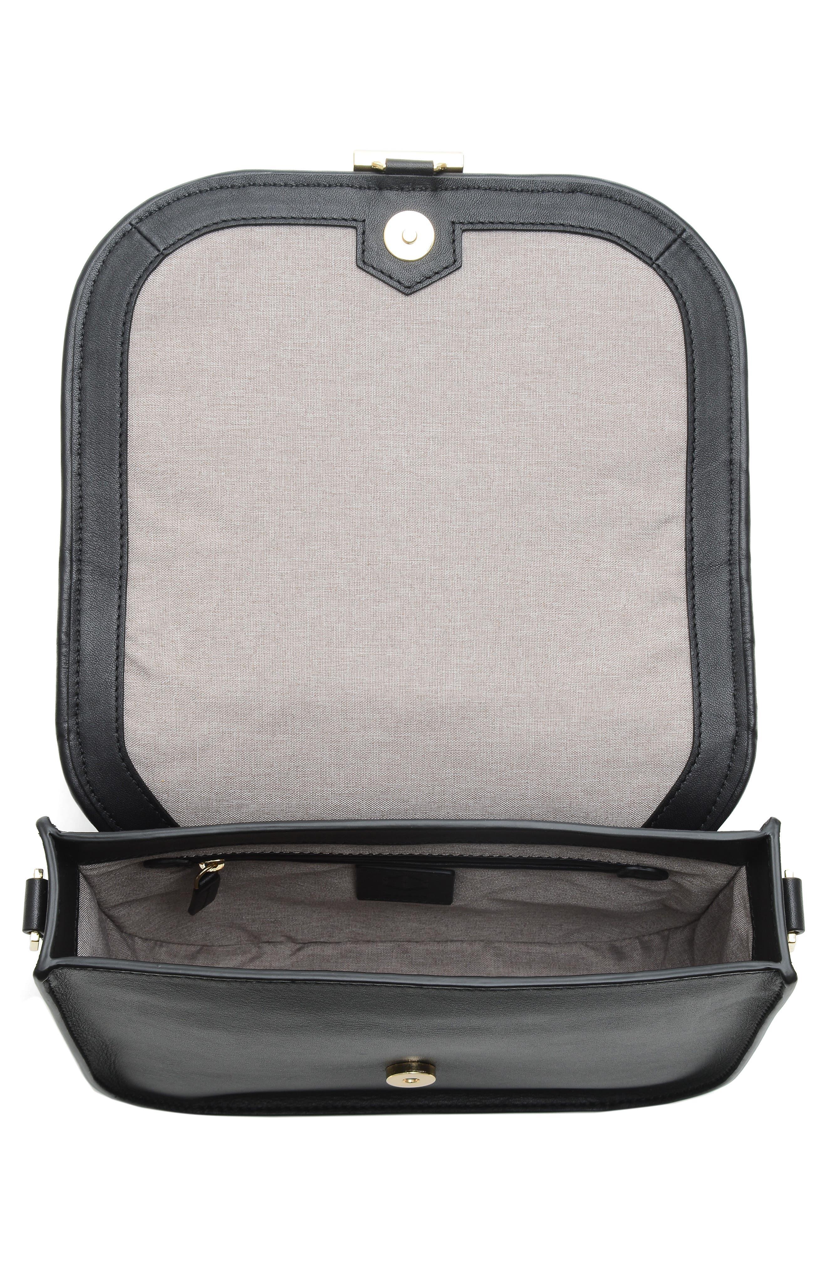 Summit Leather Crossbody Bag,                             Alternate thumbnail 4, color,                             BLACK