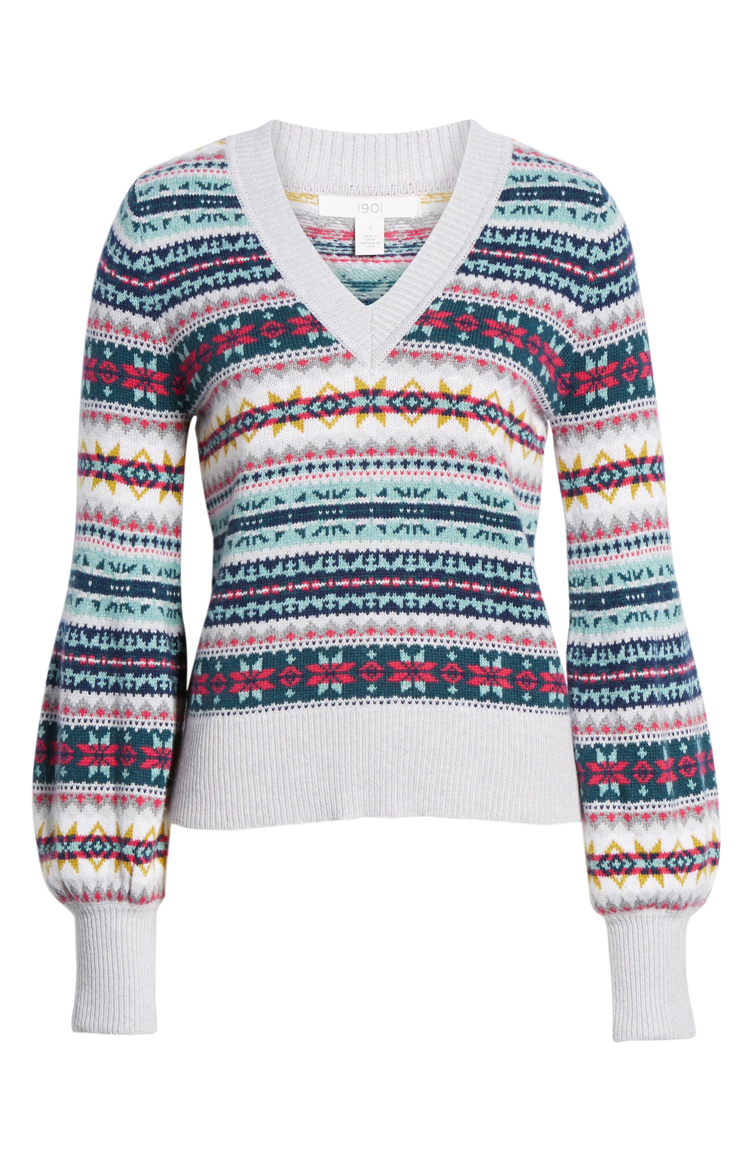 Fair Isle Cotton Wool Sweater,                             Alternate thumbnail 6, color,                             030
