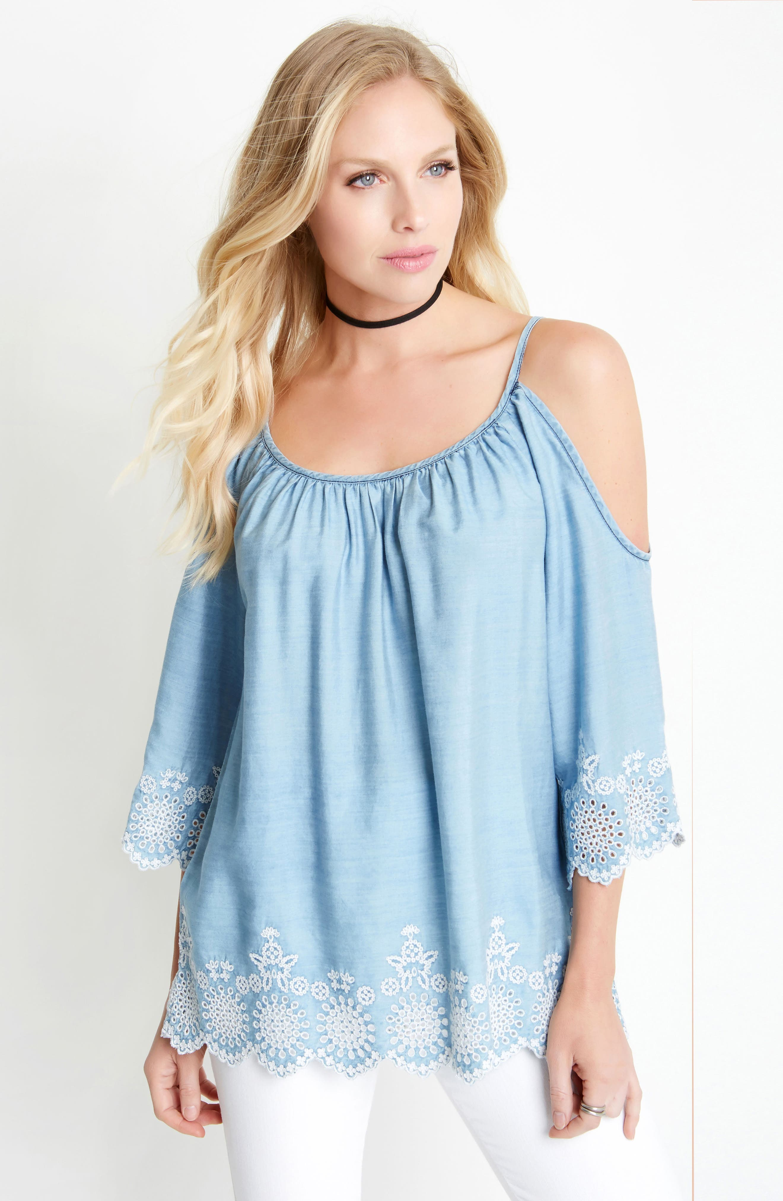Embroidered Chambray Cold Shoulder Top,                             Alternate thumbnail 3, color,                             455