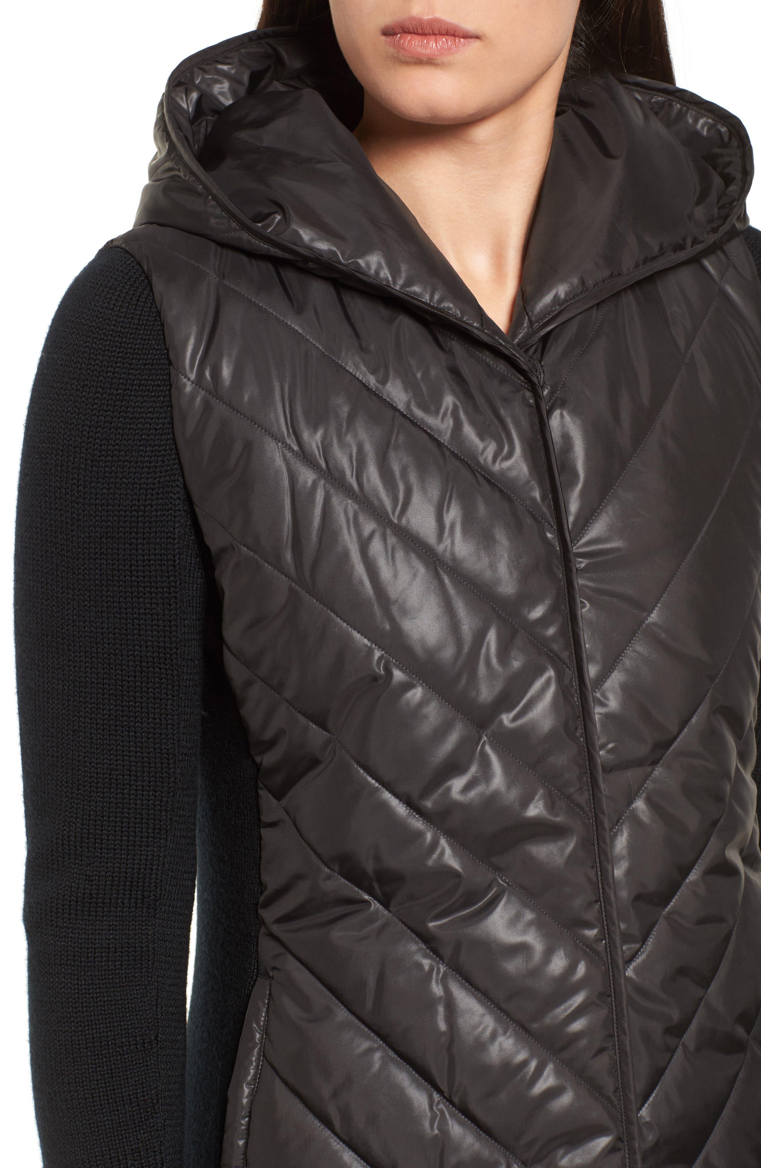 Hooded Merino Wool Trim Jacket,                             Alternate thumbnail 4, color,                             001
