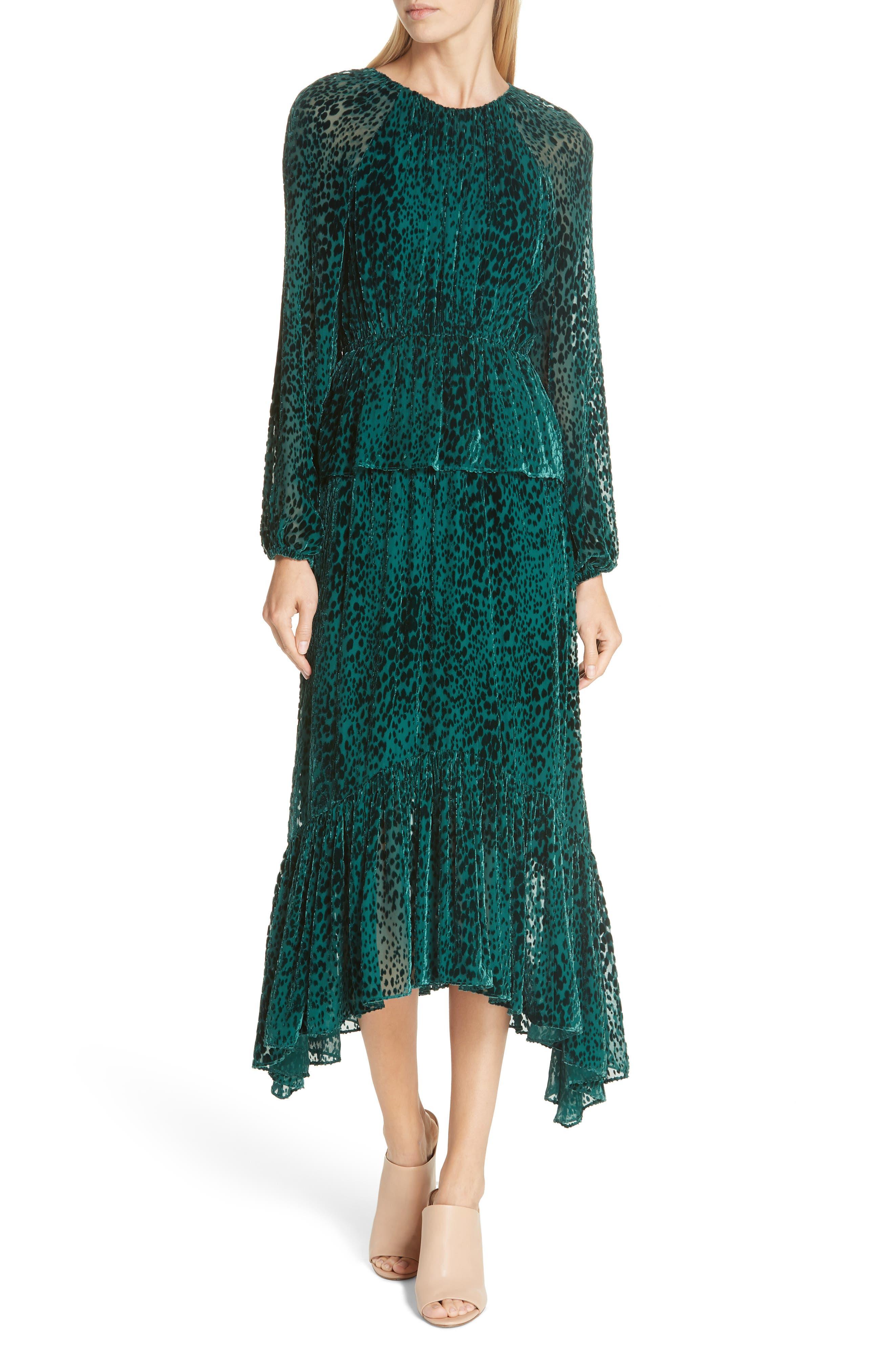 A.l.c. Kamari Velvet Burnout Midi Dress