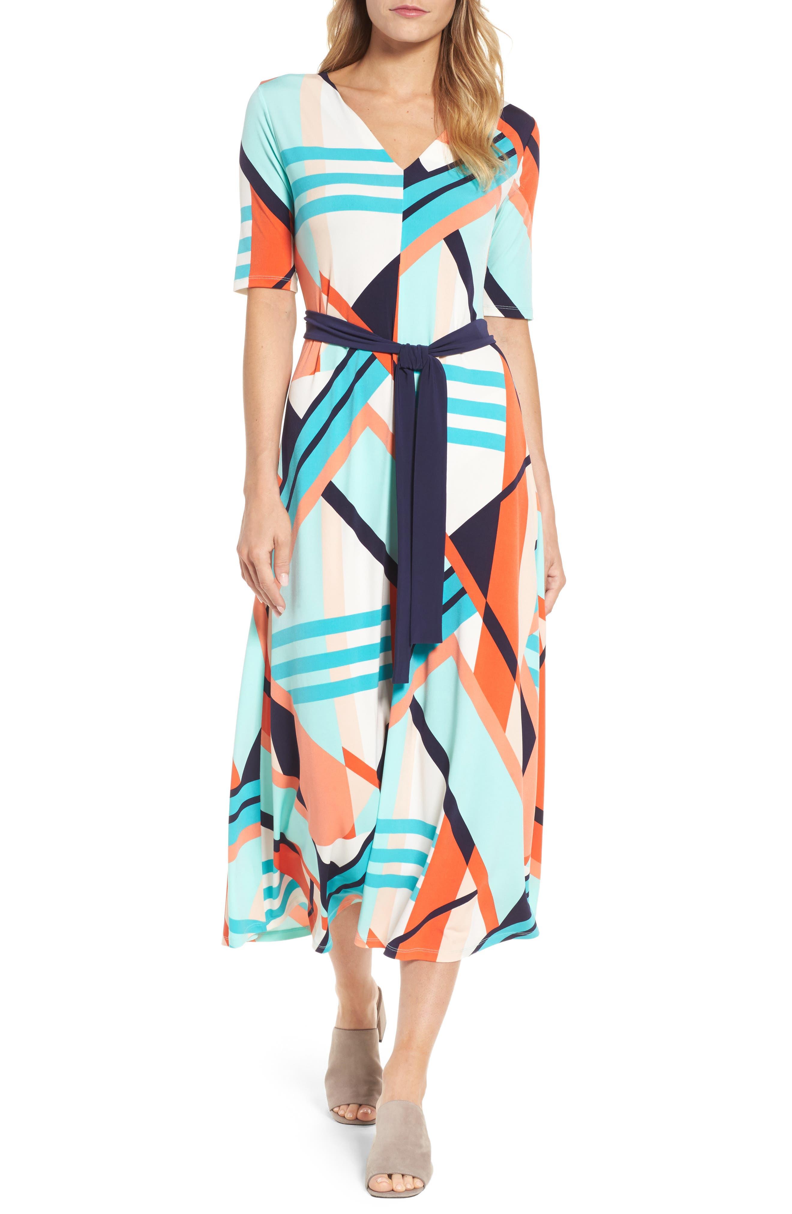 Belted Geo Print Midi Dress,                             Main thumbnail 1, color,
