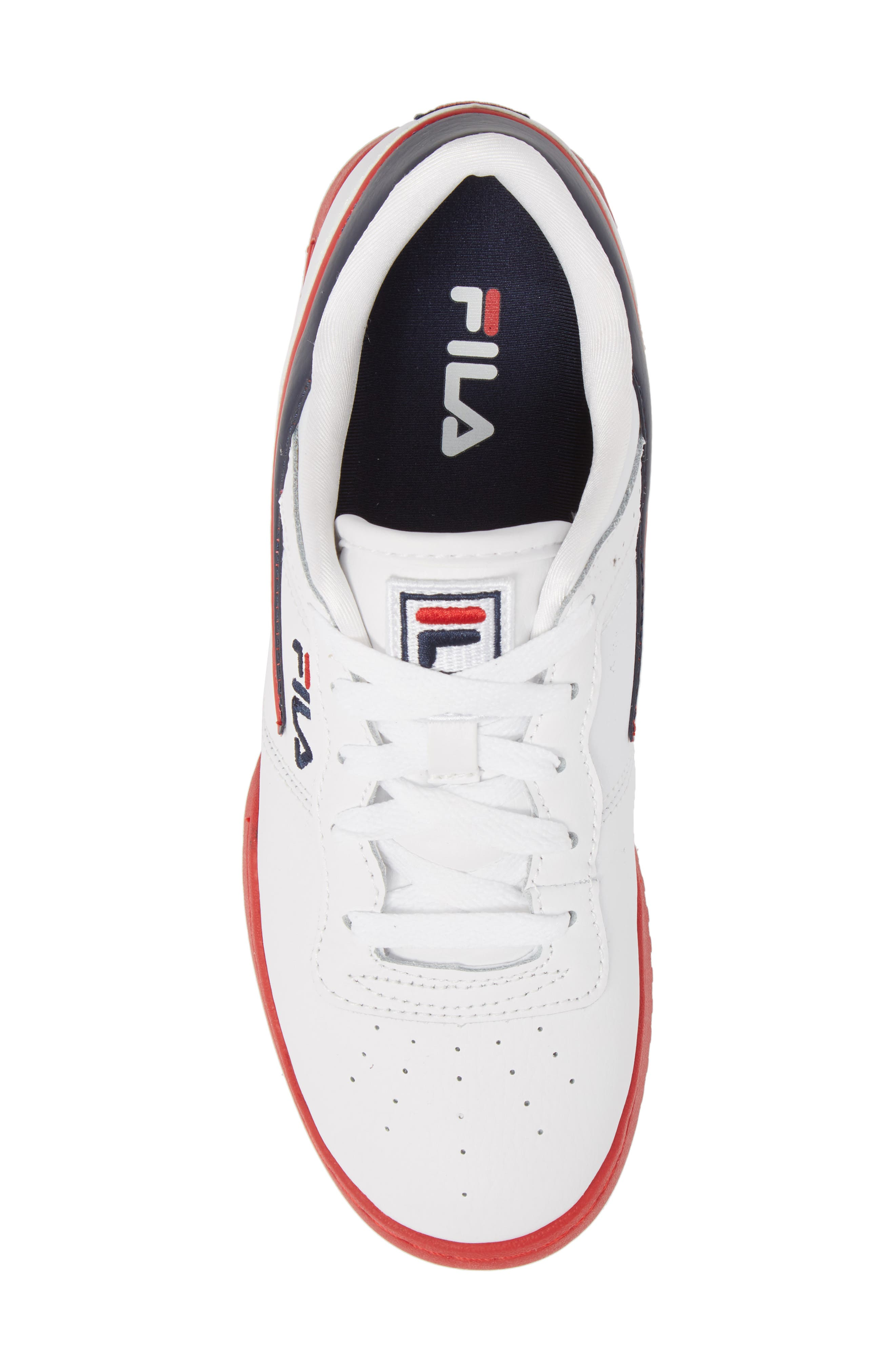 Original Fitness Sneaker,                             Alternate thumbnail 5, color,                             WHITE/ FILA RED