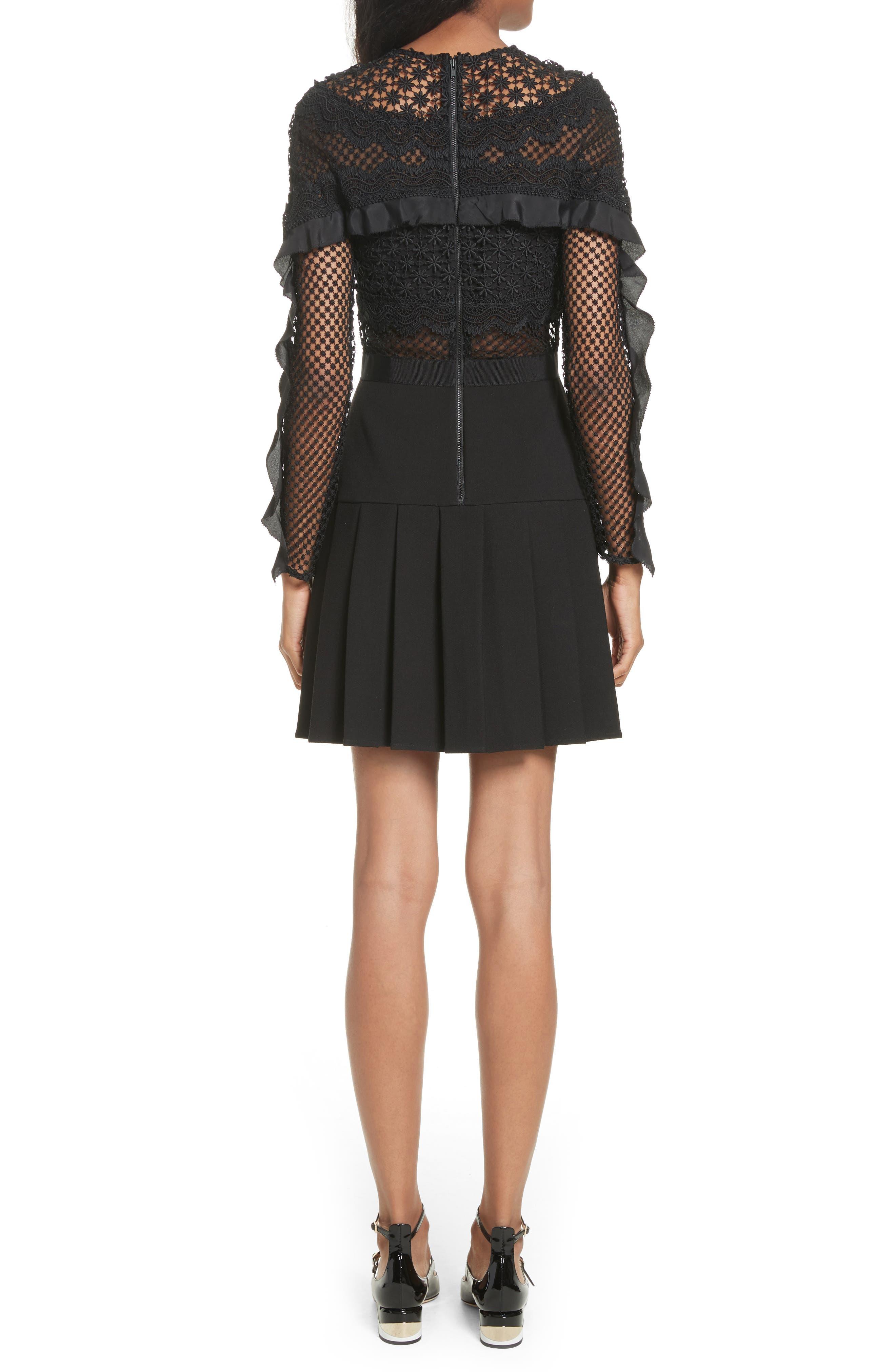 Bellis Lace Fit & Flare Dress,                             Alternate thumbnail 2, color,                             001