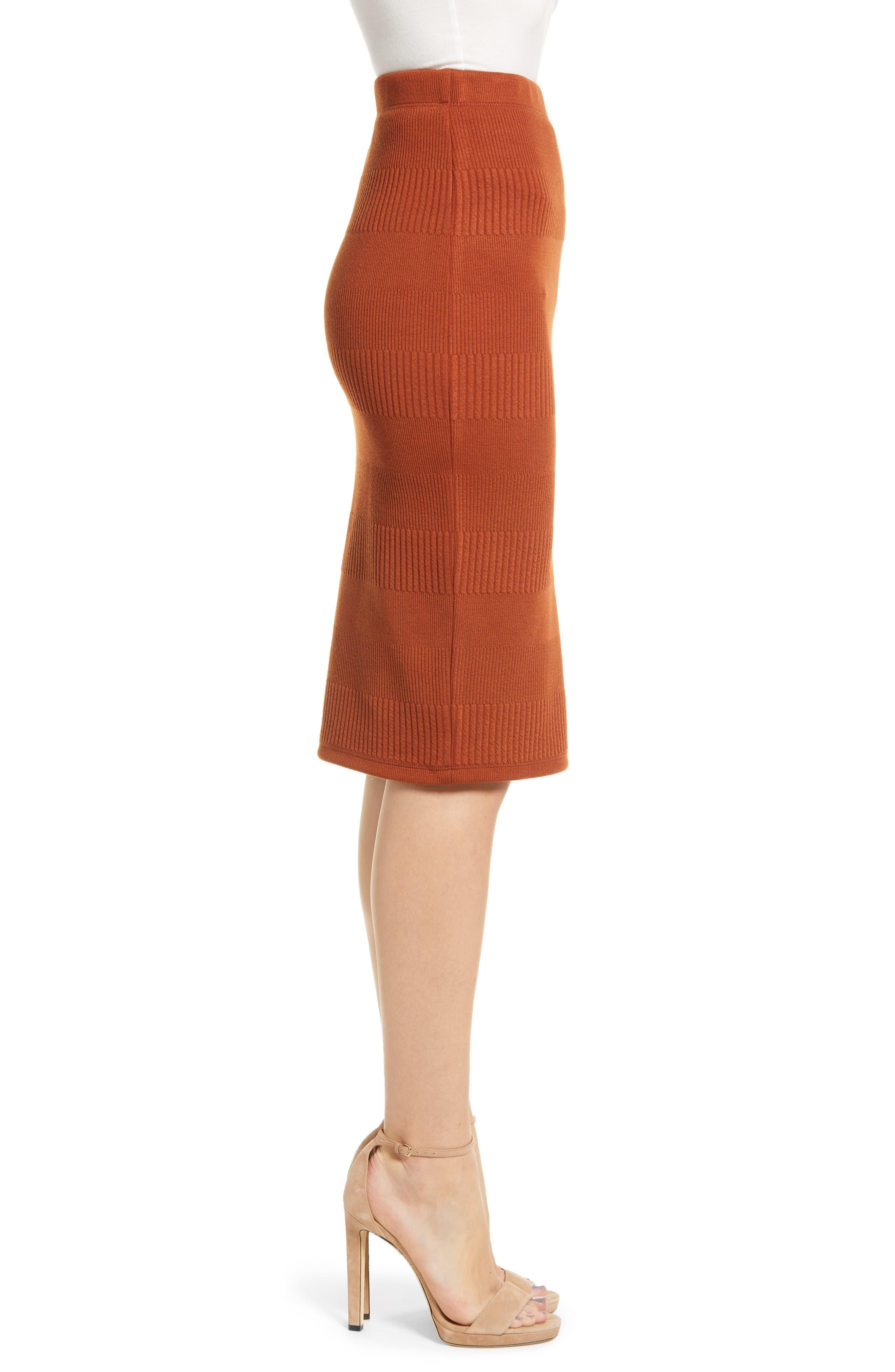 Midi Pencil Skirt,                             Alternate thumbnail 3, color,                             BROWN SPICE