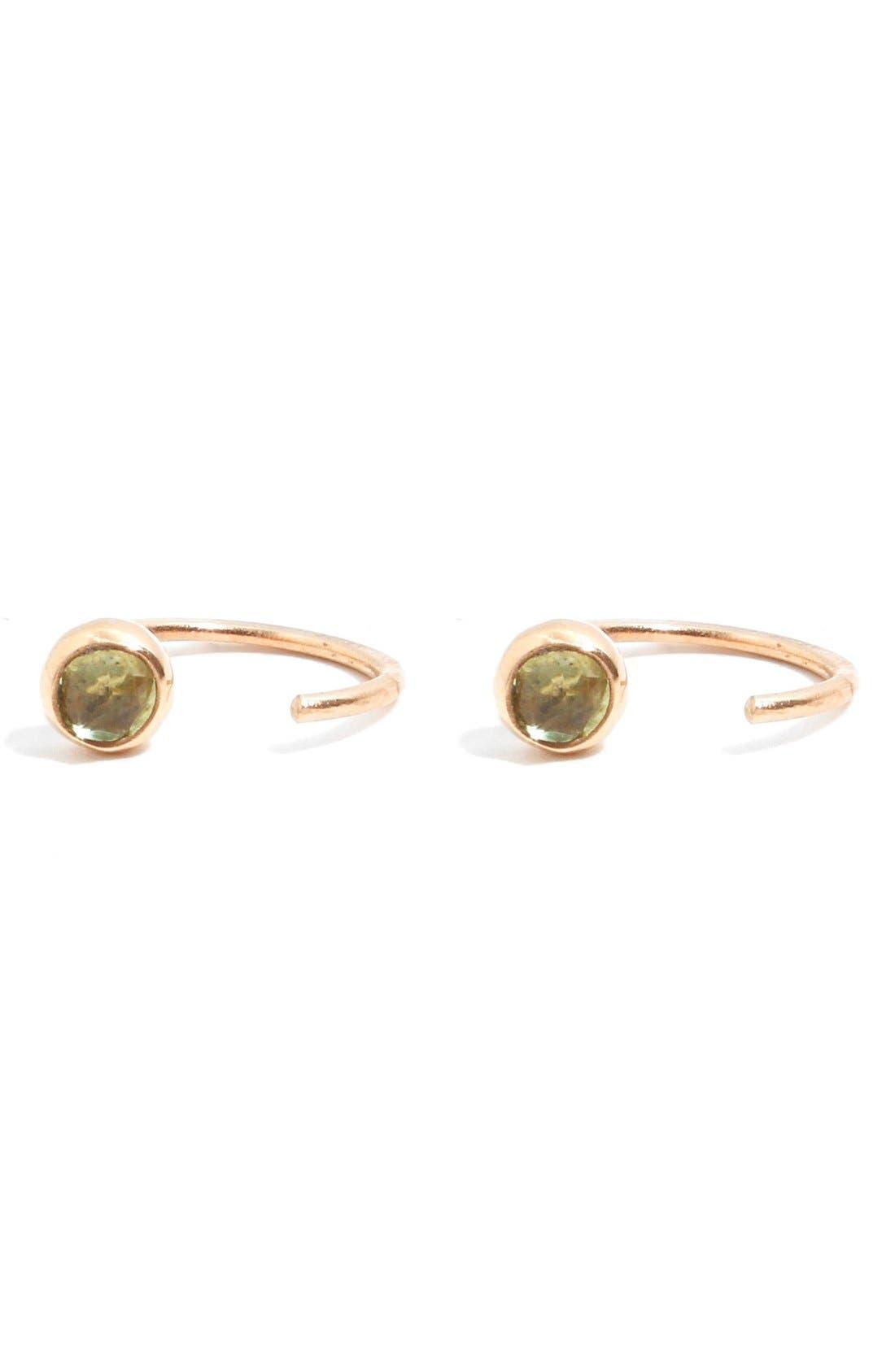Peridot Hug Hoop Earrings,                         Main,                         color, YELLOW GOLD/ PERIDOT
