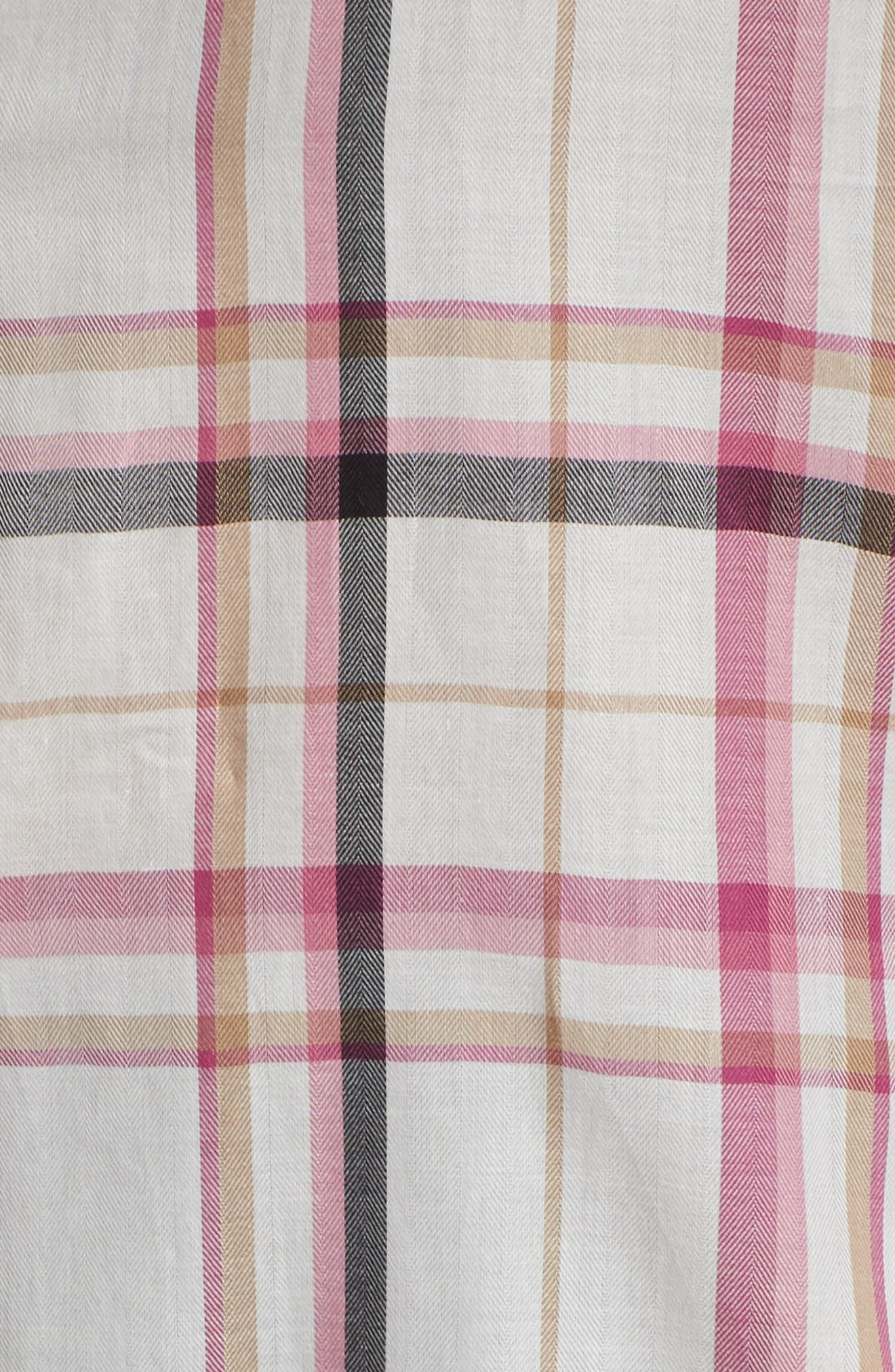 Cici Herringbone Plaid Tunic,                             Alternate thumbnail 5, color,                             ROSEBERRY