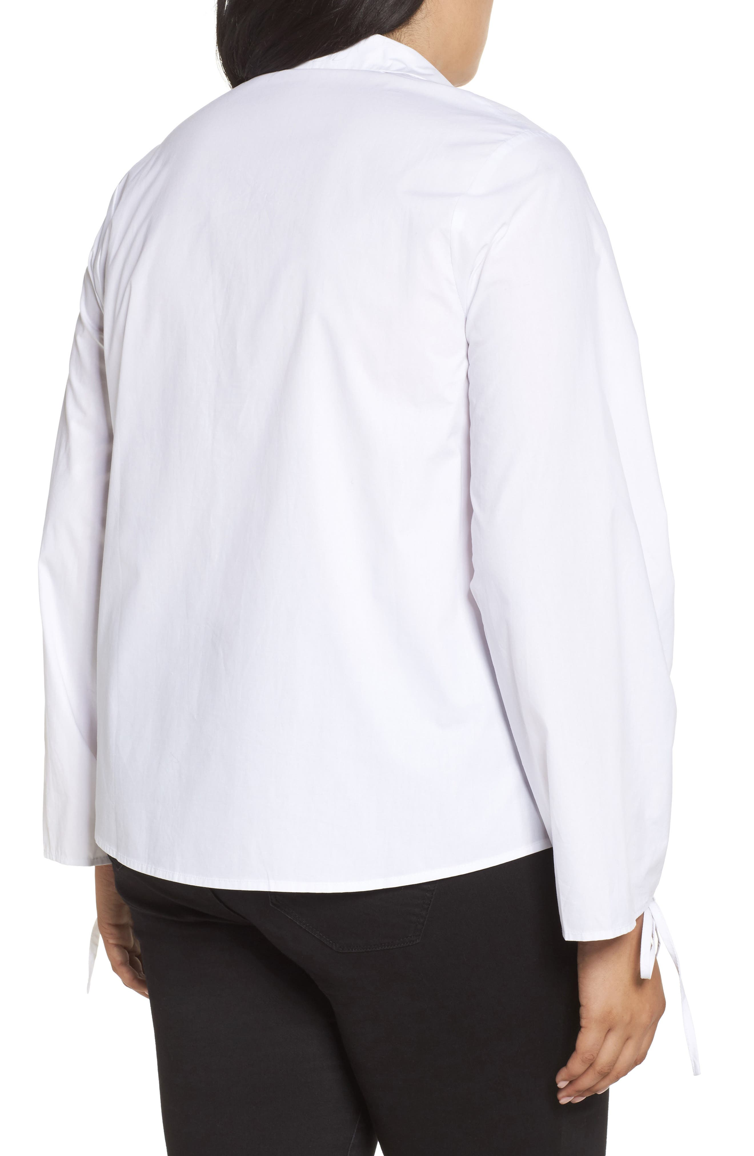Ruched Sleeve Button-Up Shirt,                             Alternate thumbnail 2, color,                             101