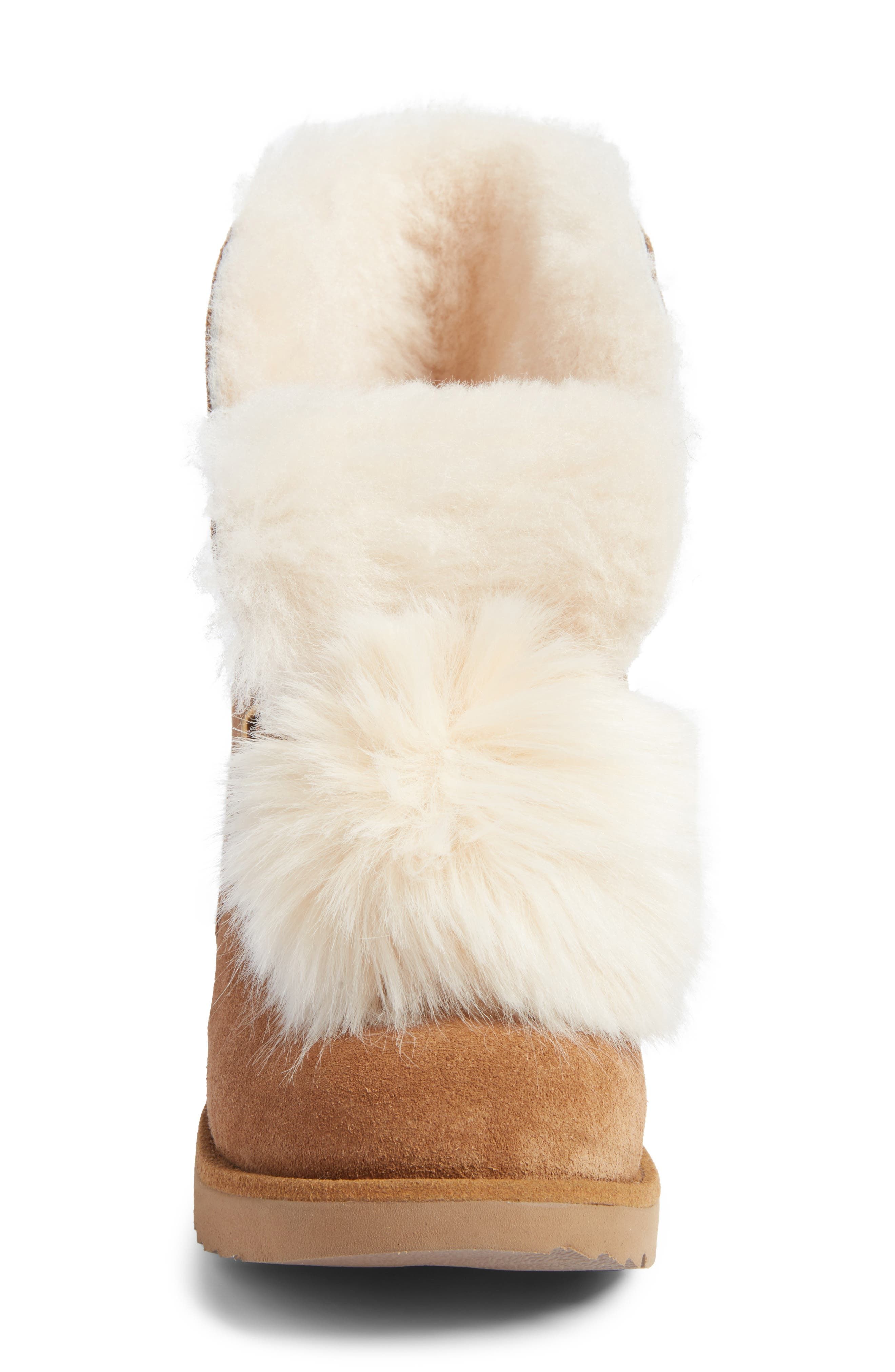 Isley Genuine Shearling Waterproof Pom Boot,                             Alternate thumbnail 4, color,                             219