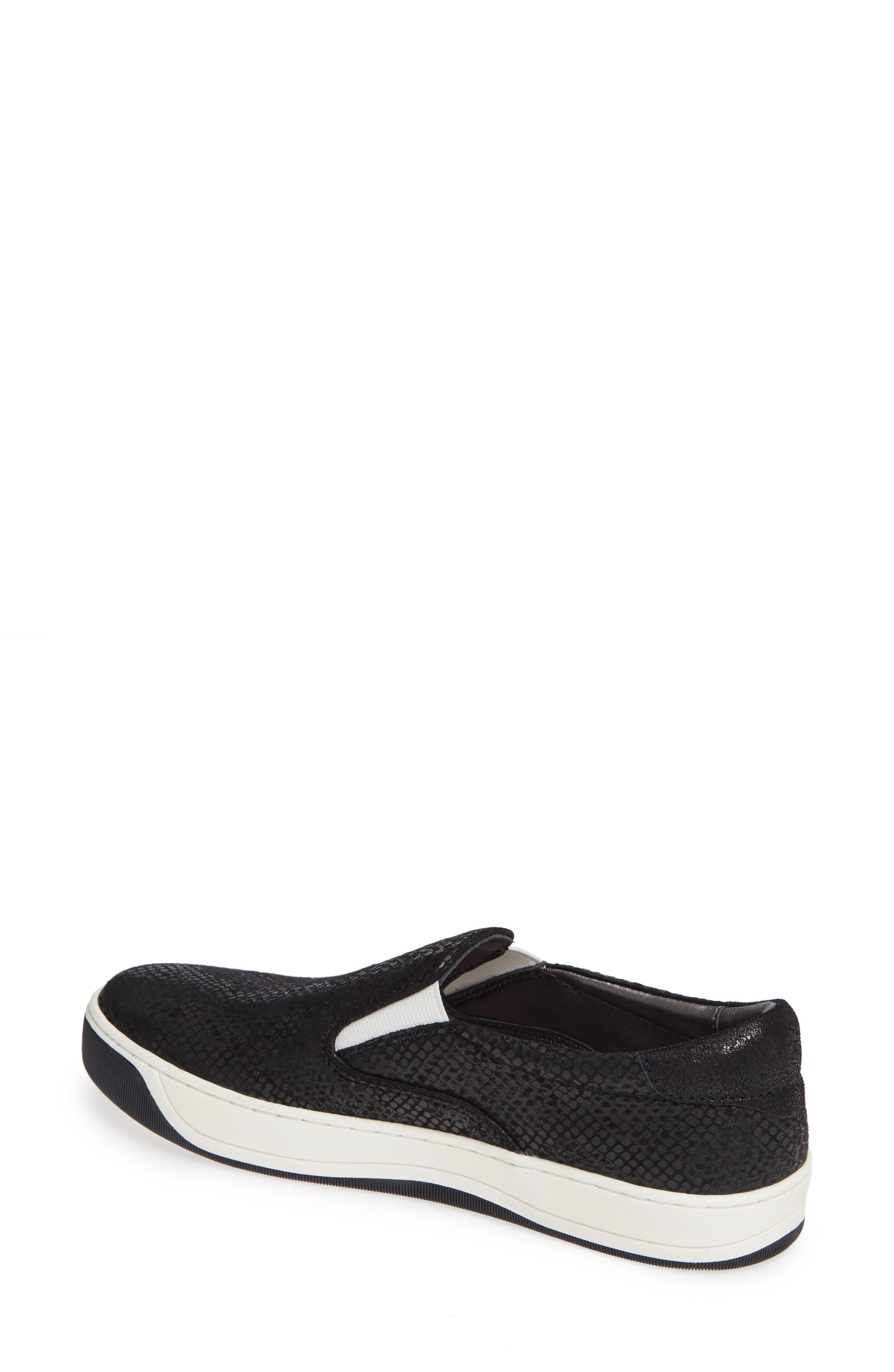 Elaine Slip-On Sneaker,                             Alternate thumbnail 2, color,                             BLACK SNAKE PRINT SUEDE