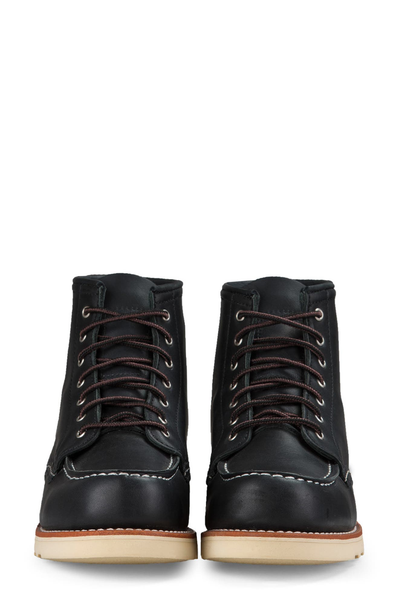 RED WING,                             6-Inch Moc Boot,                             Alternate thumbnail 3, color,                             BLACK BOUNDARY LEATHER