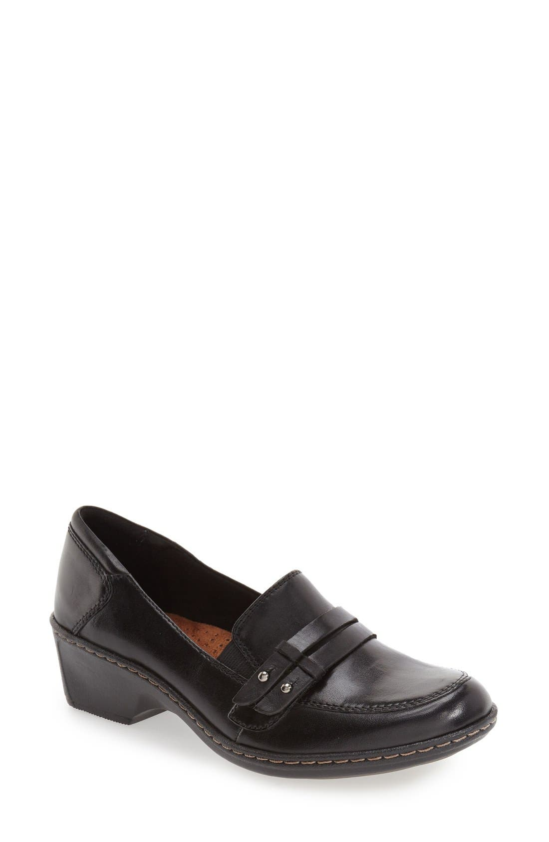 Cobb Hill 'Deidre' Loafer,                         Main,                         color, BLACK LEATHER