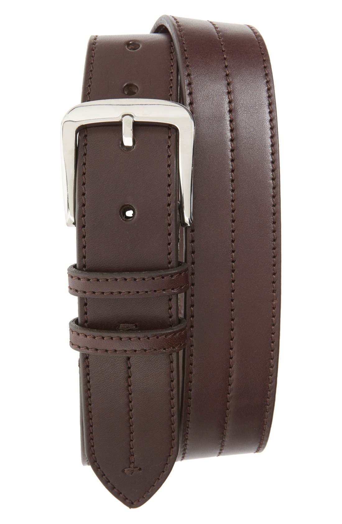 Leather Belt,                         Main,                         color, DEEP BROWN