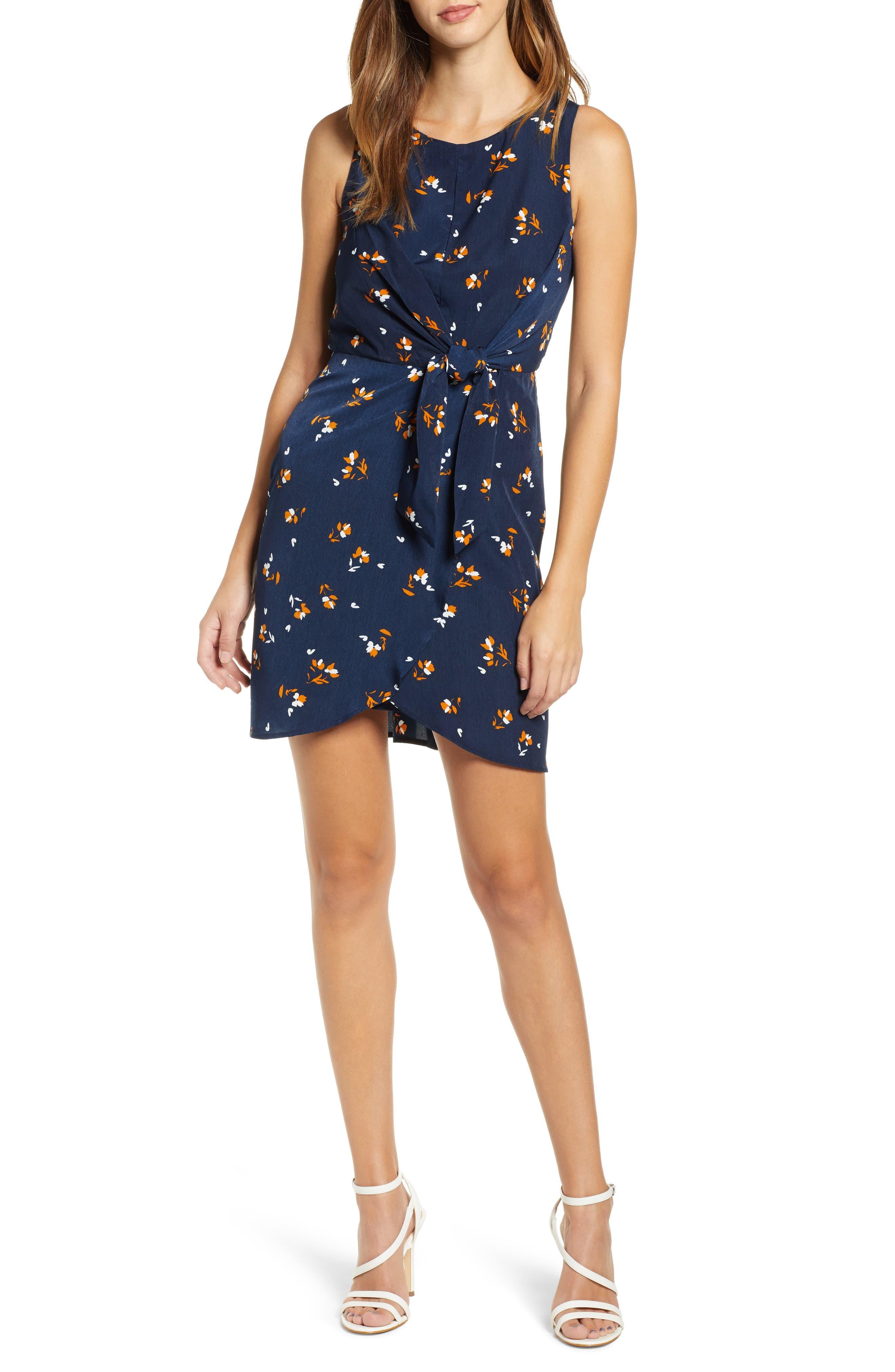 Leith Tie-Front Mini Dress, Blue