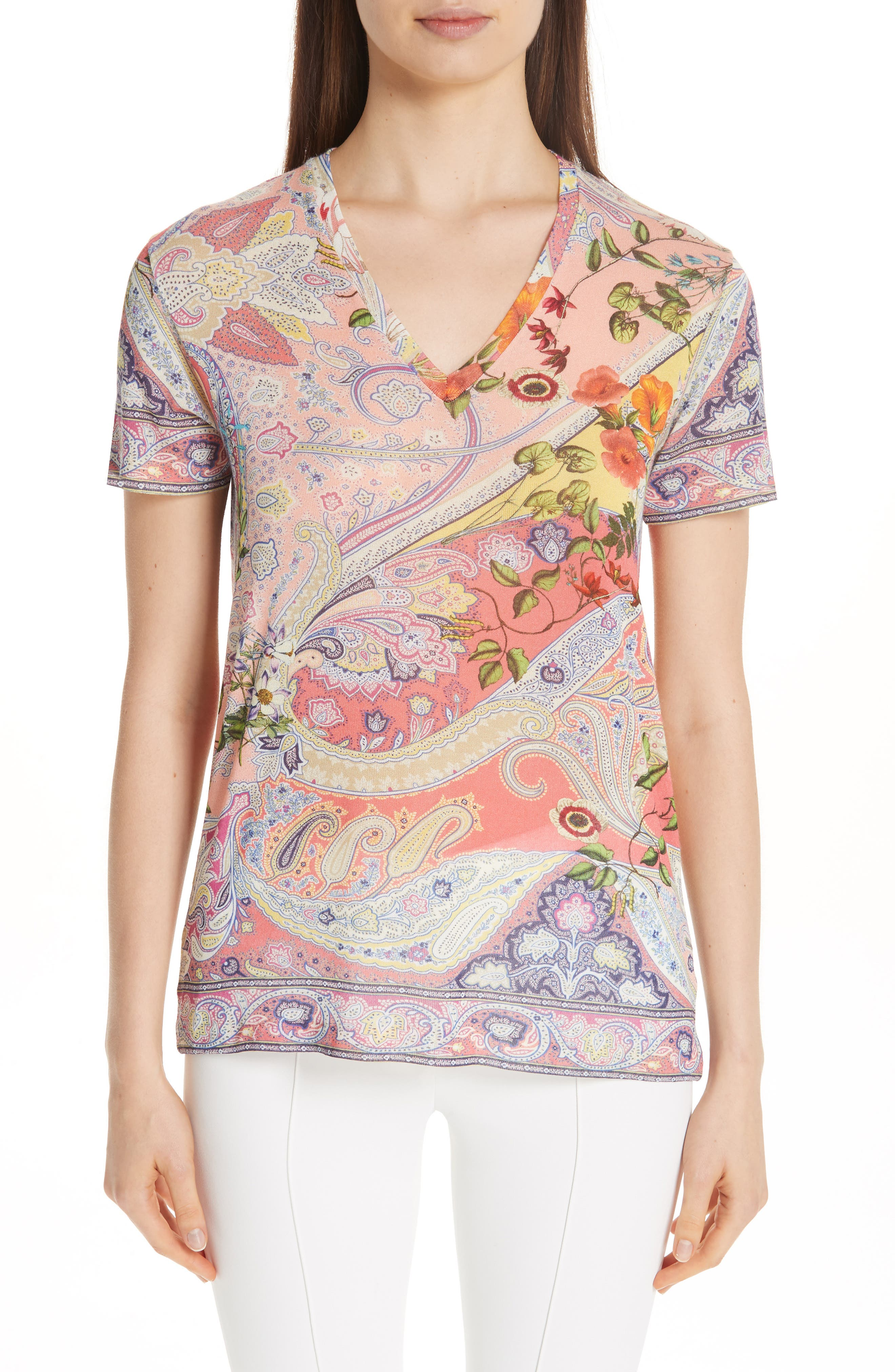 ETRO Paisley Print Stretch Jersey Tee, Main, color, RED